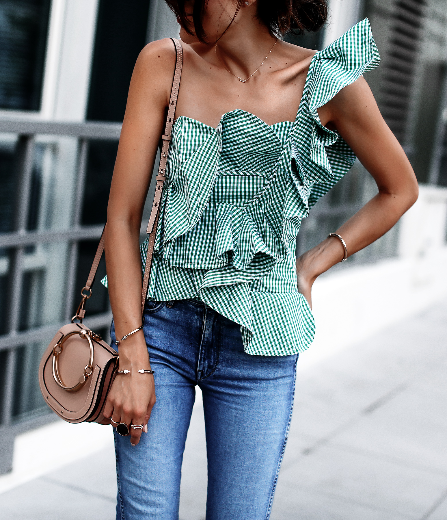 Stylekeepers Ruffled Bustier Top 3x1 Denim Chloe Nile Bag Christian Louboutin White Pumps.jpg