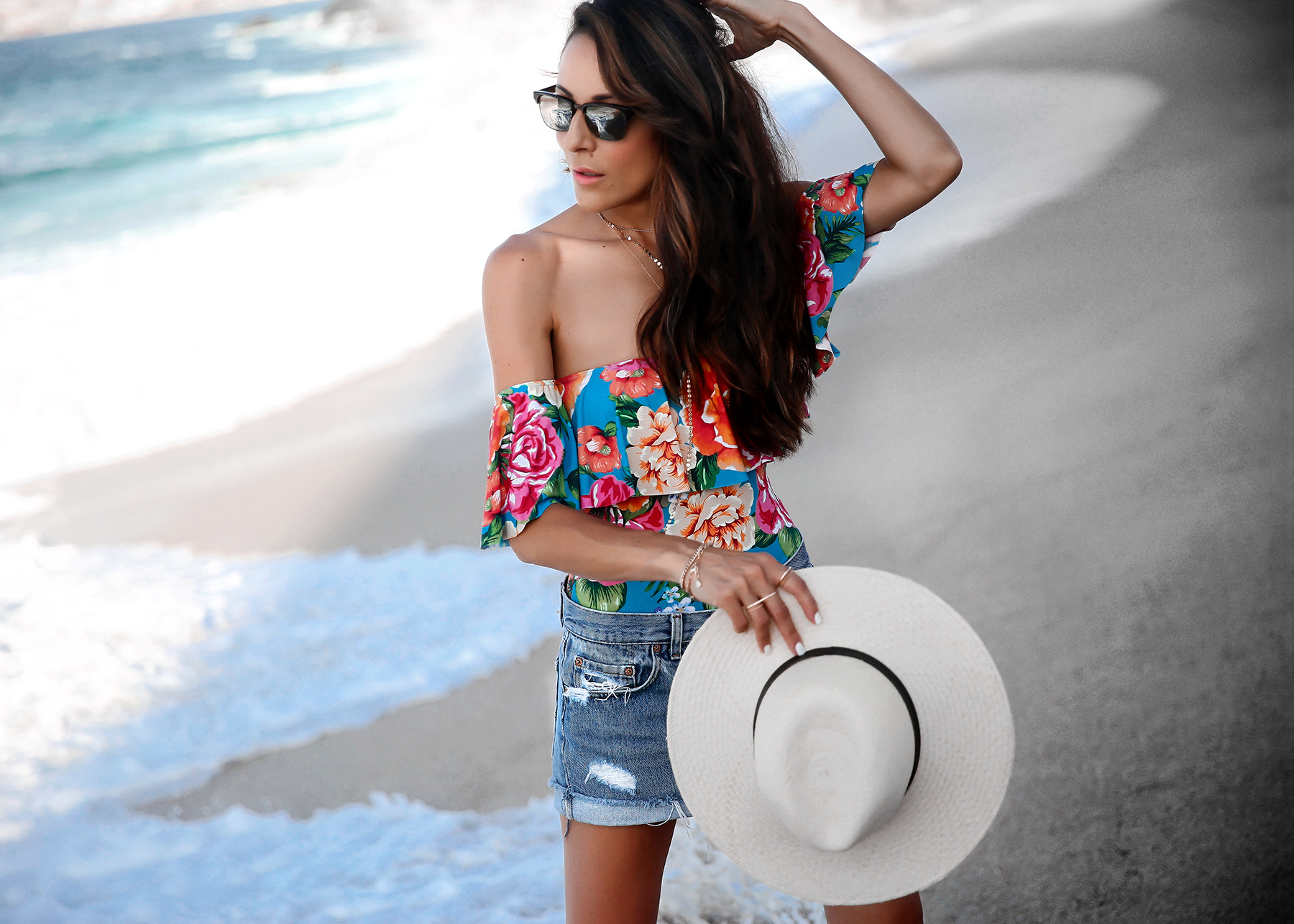 Beach Fashion Levis shorts with Floral off Shoulder Suit maui Jim sunglasses.jpg