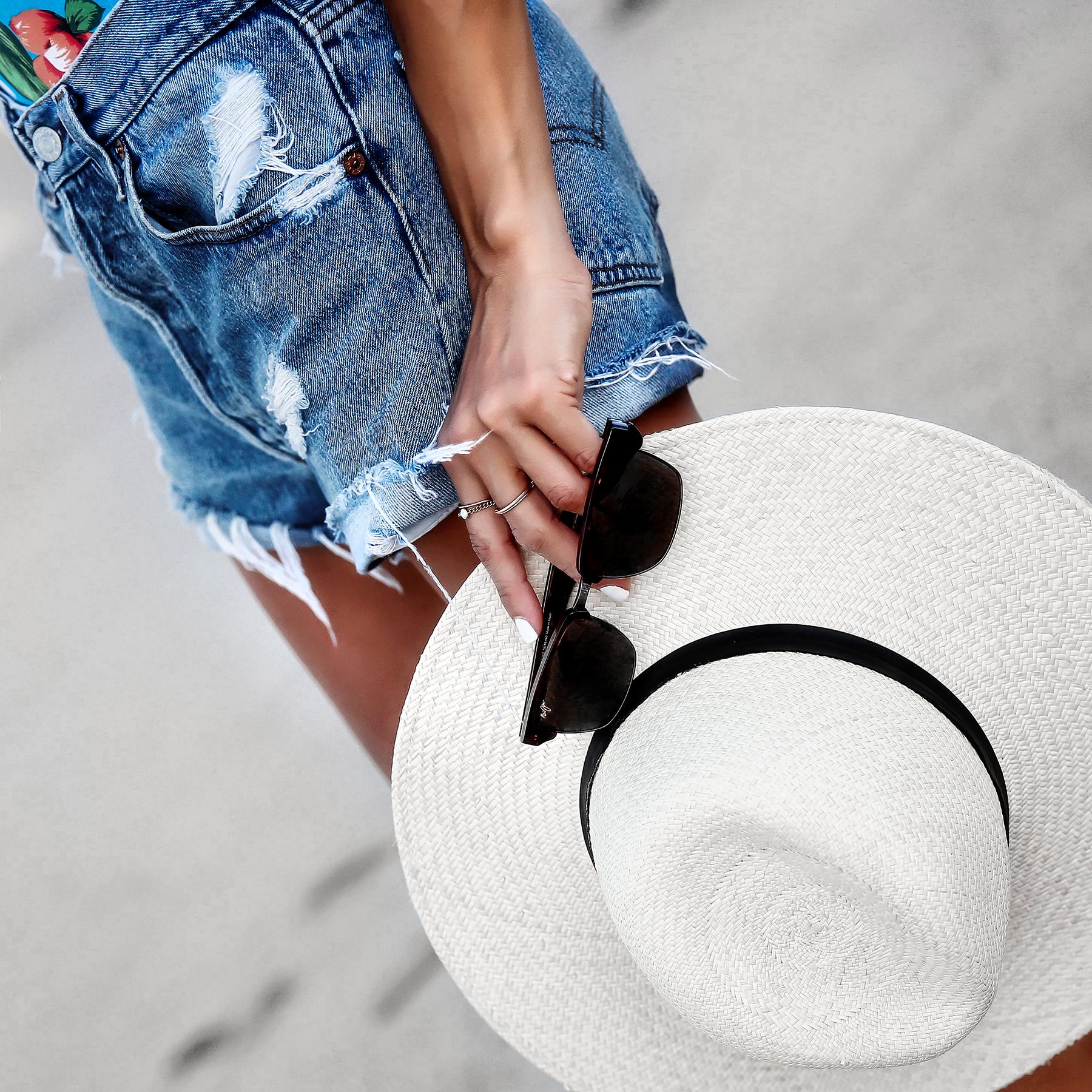 Maui Jim Sunglasses Levis Shorts Janessa Leone Panama Hat.jpg
