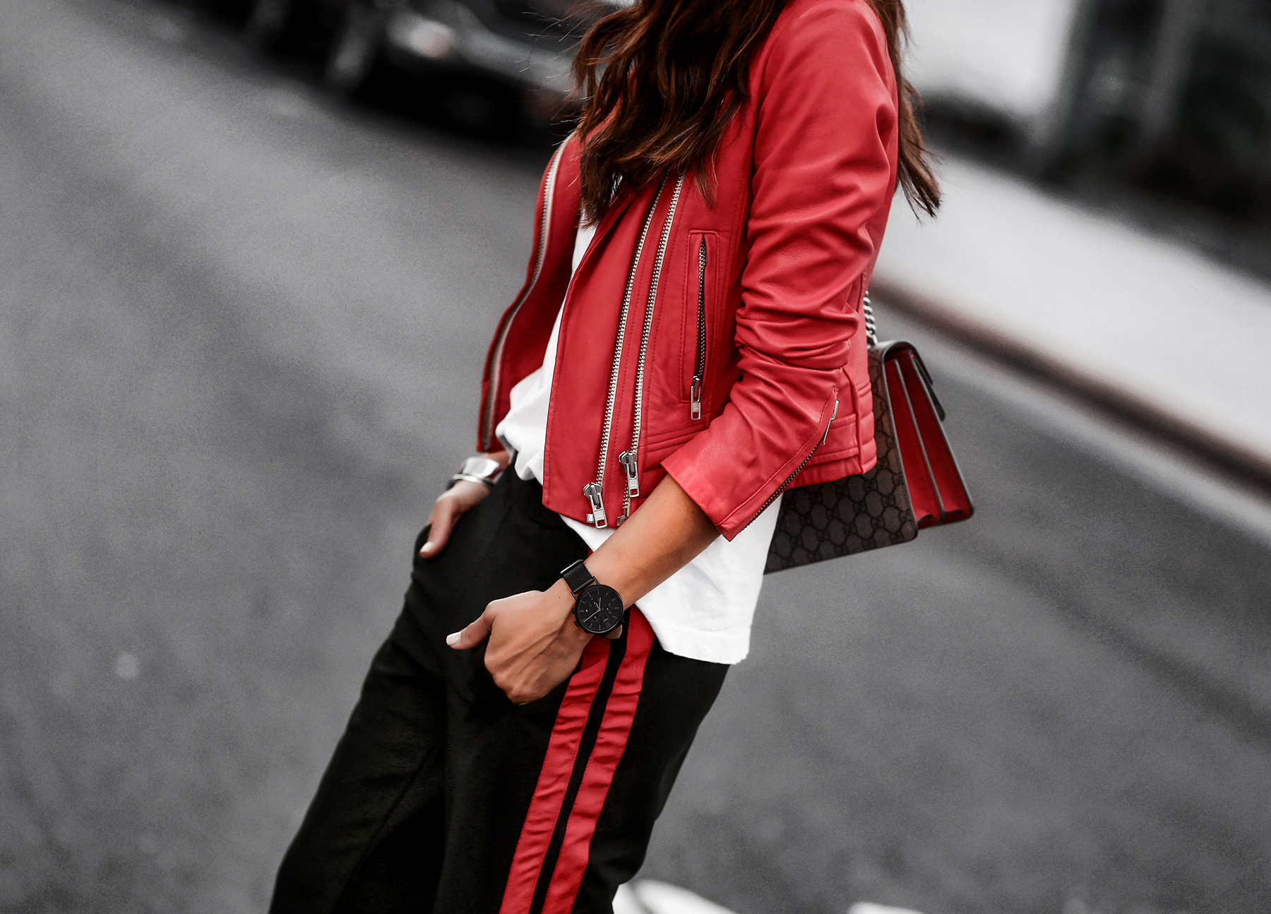 Who What Wear Target Track Pants and Gucci Dionysus Bag IRO Red LEather Jacket.jpg