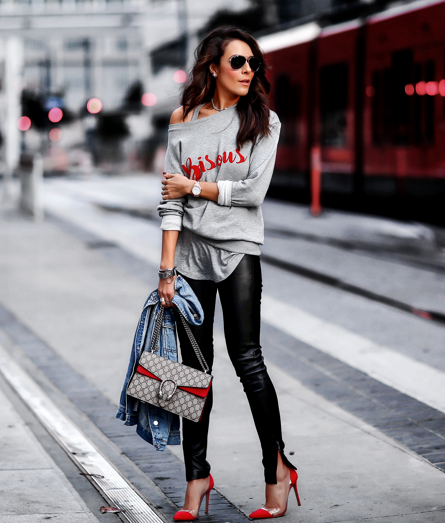 South Parade Bisous Sweatshirt Leather Skinny Pants Gianvito Rossi Plexi Pumps Gucci Dionysus Bag.jpg