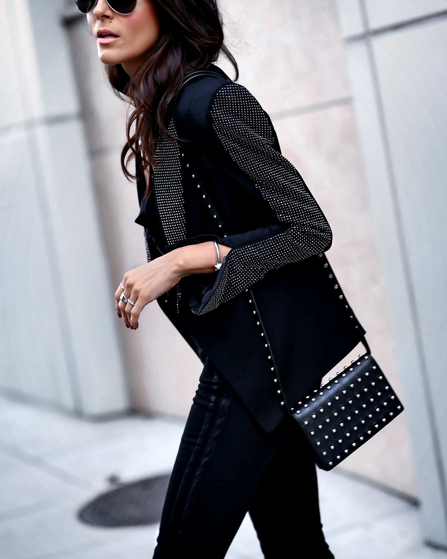 H&M Studded Blazer Holiday Alexander Wang Studded bagLook Silver jewelry.jpg