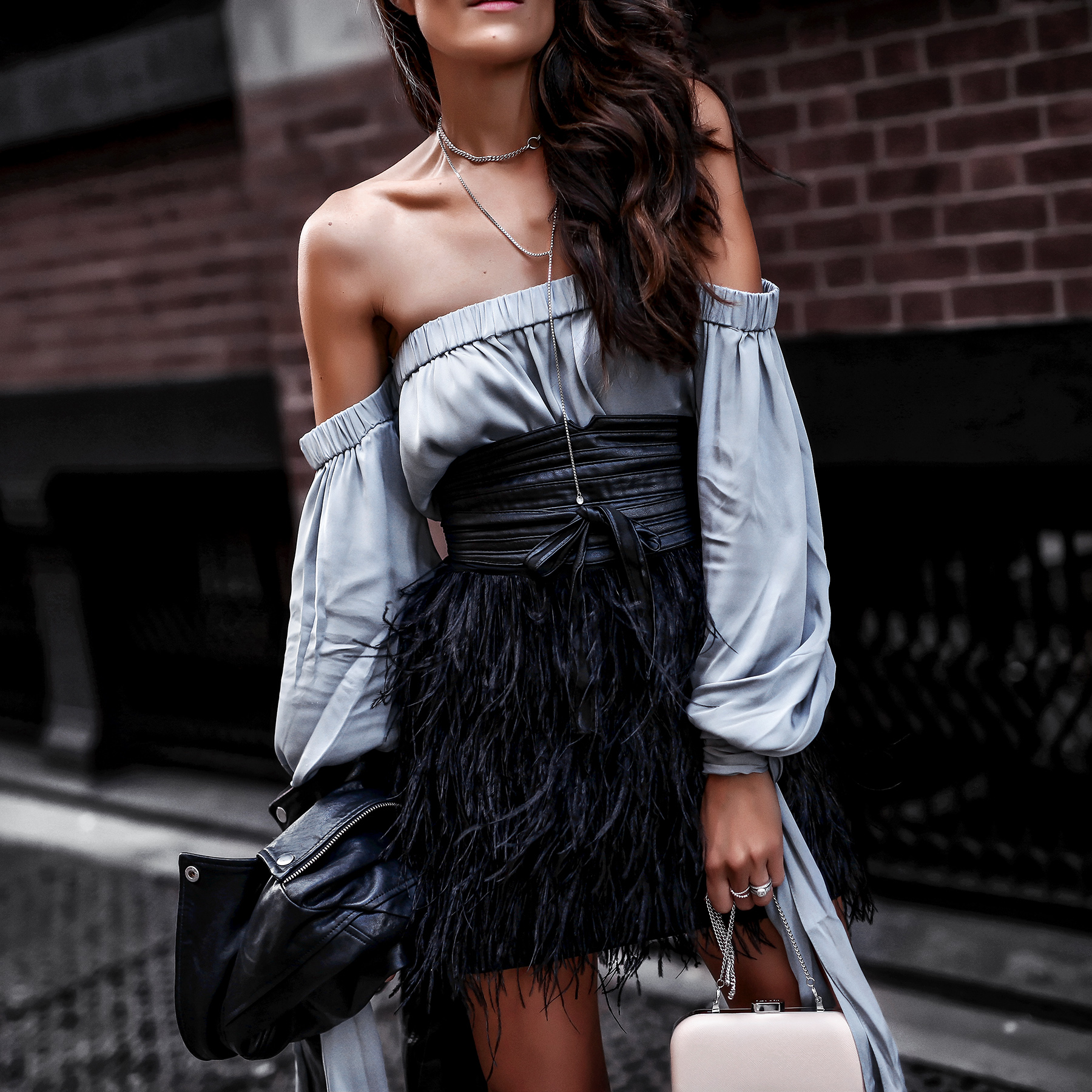 Milly NYE Look Feather Skirt Satin Off the Shoulder Top.jpg