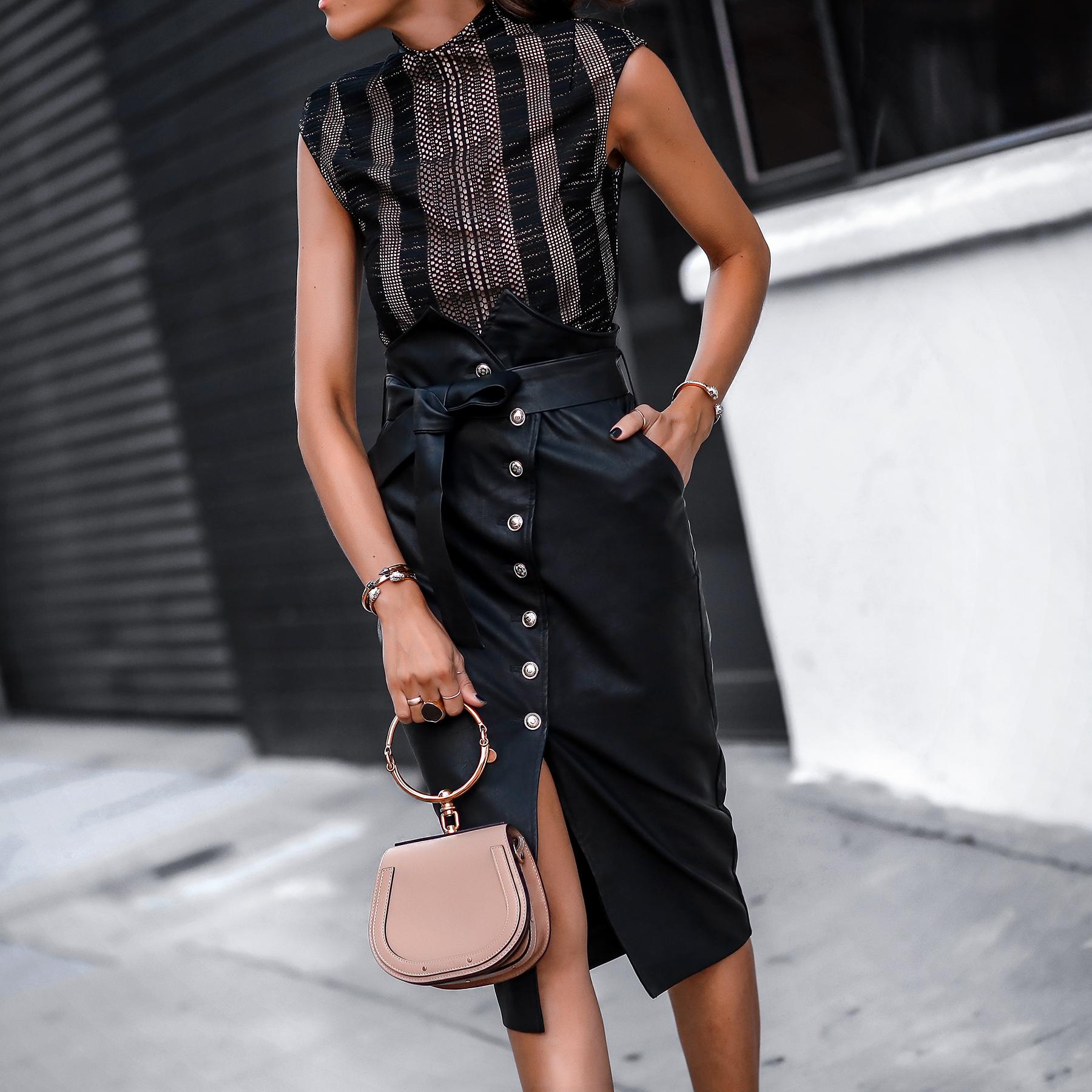 Misha Collection Bodysuit Bardot Faux Leather Wrap Skirt Chloe Nile Bag.jpg