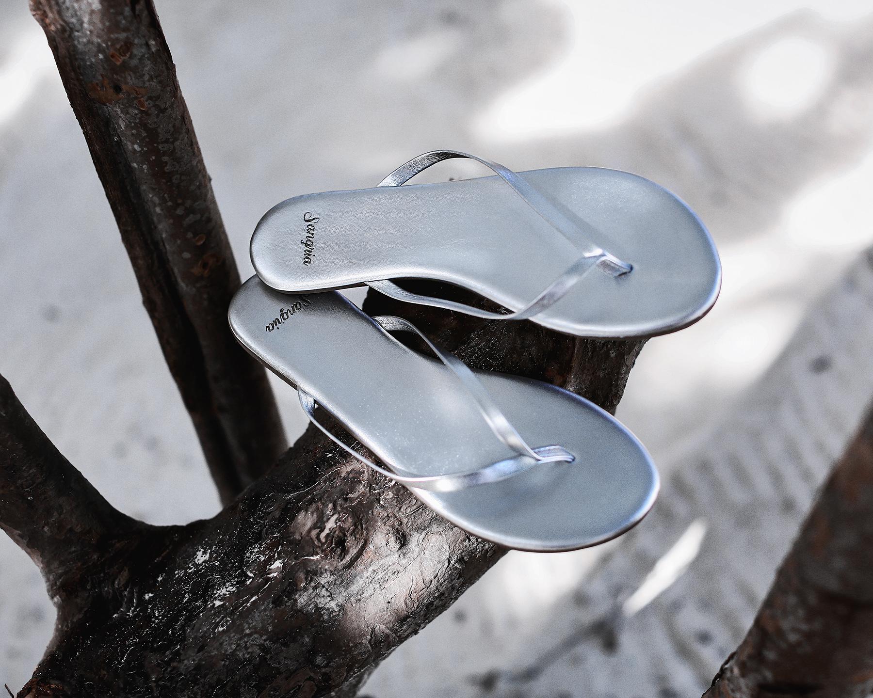 Sangria Metallic Sandals Beach Style in Tulum.jpg