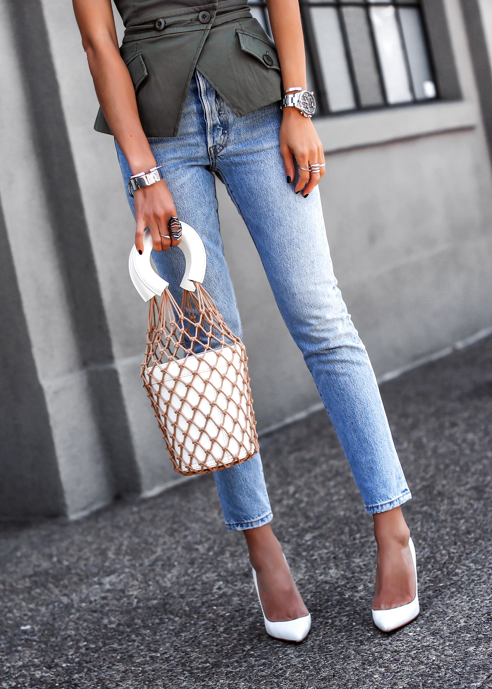 Marissa Webb Vest Levis Jeans Staud Bucket Bag Christian Louboutin White Pumps Spring Fashion Must Haves.jpg