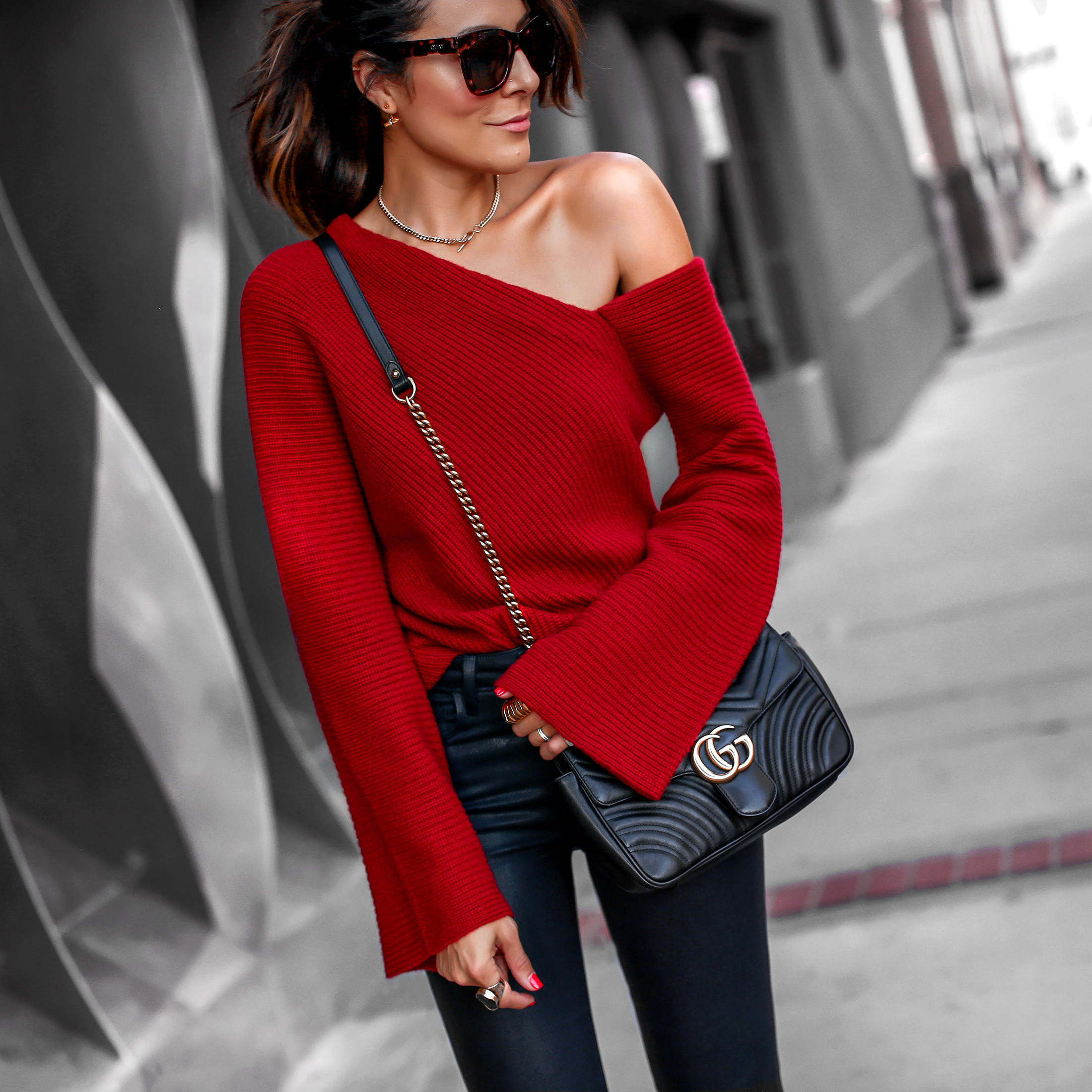 A.L.C Asymmetric Sweater L'Agence Skinny jeans Gucci Bag Nordstrom Anniversary Sale.jpg