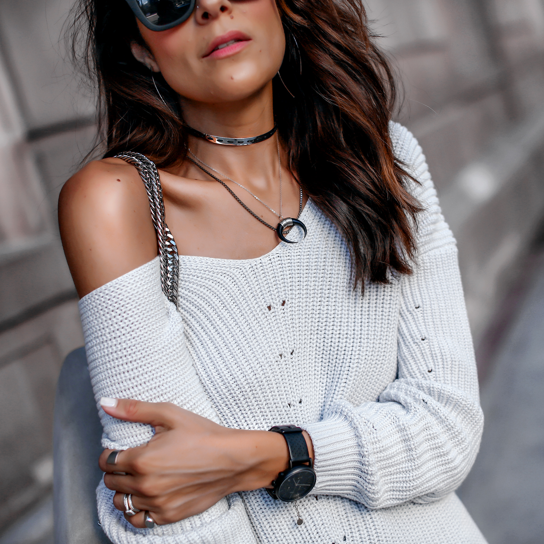 Lucys Whims Brunnette Woman Wearing Off the Shoulder 525 Sweater DSTLD Ripped Jeans Chloe Boots Agneel Shoulder Bag.jpg