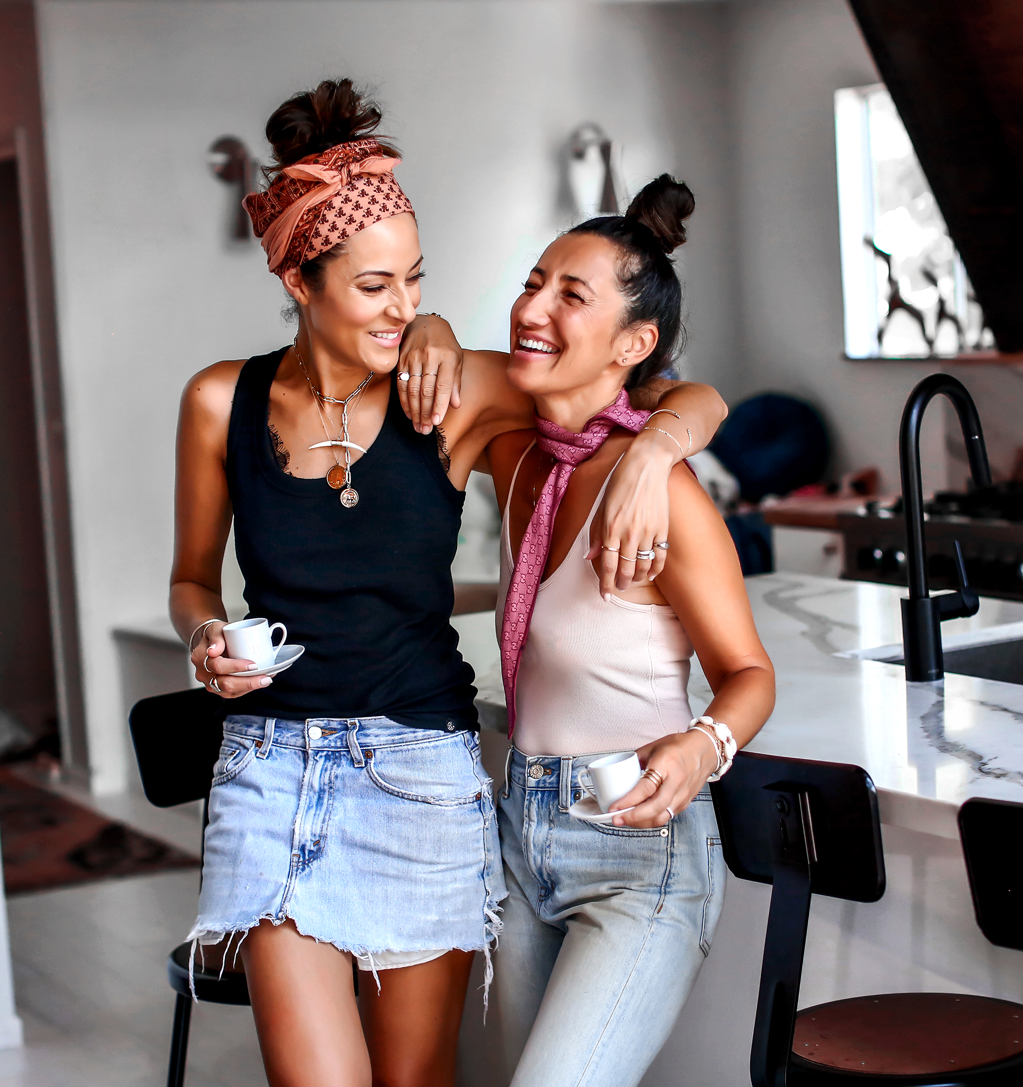 Brunette Best Friends Laughing
