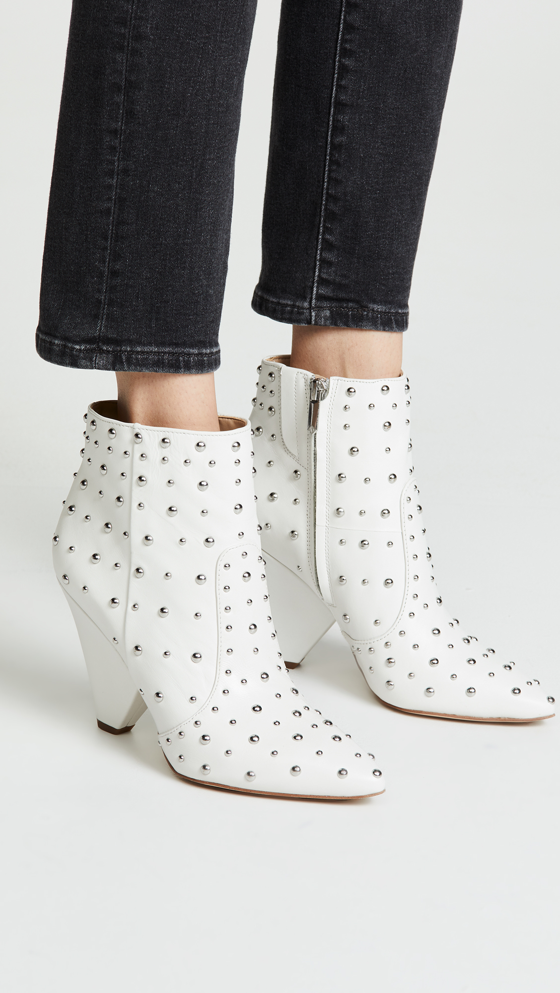 Studded White Booties