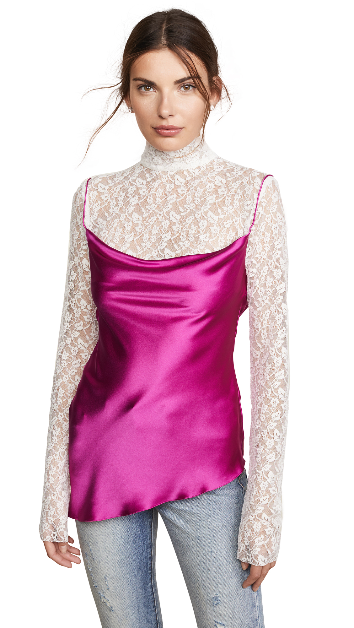 Pink Satin and Lace Top