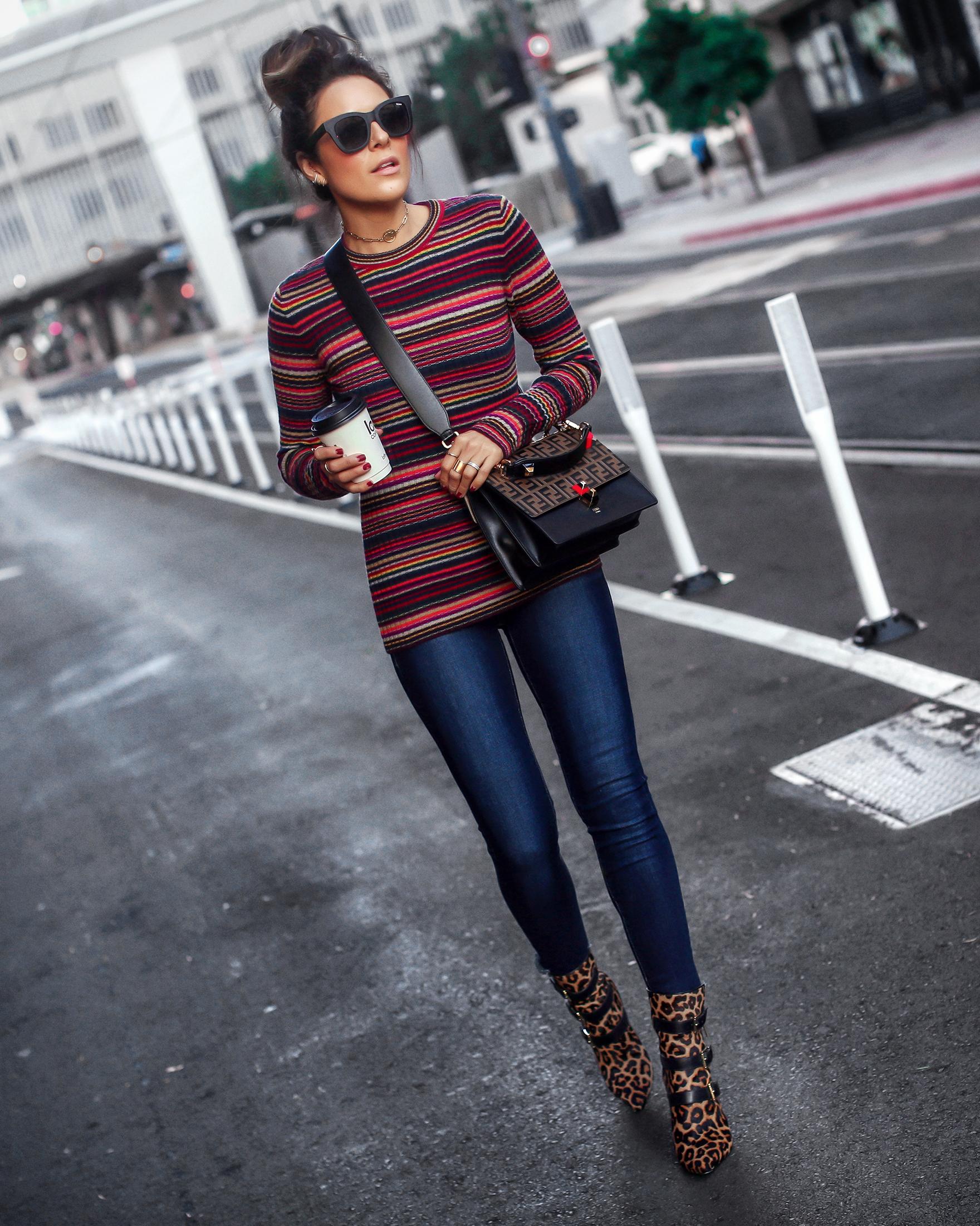 Brunette Woman Wearing Striped Knit Leopard Boots Fendi Kan Bag