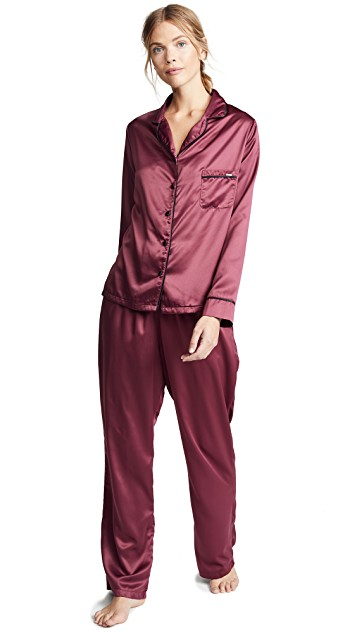 Satin Shirt Pant PJ Set