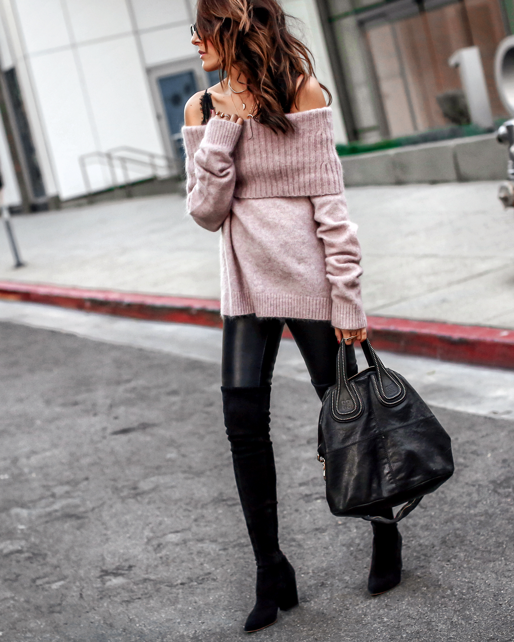 Brunette Woman in Off the Shoulder Sweater Leather Leggings OTK Boots