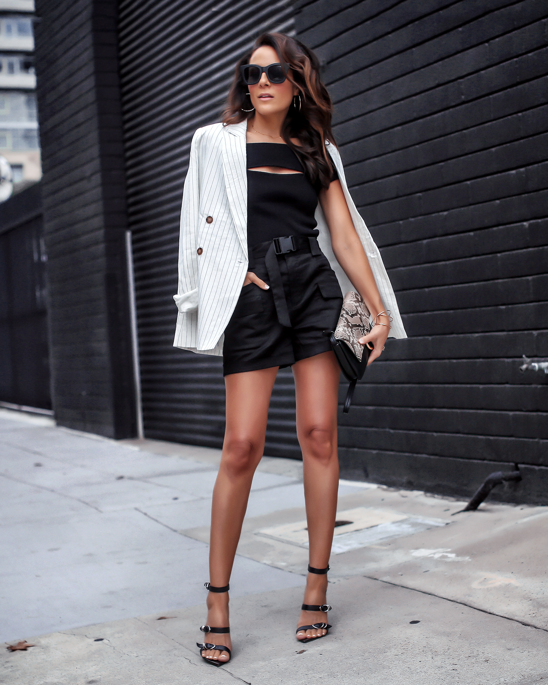 Brunette Woman Wearing Express Olivia Culpo Collection