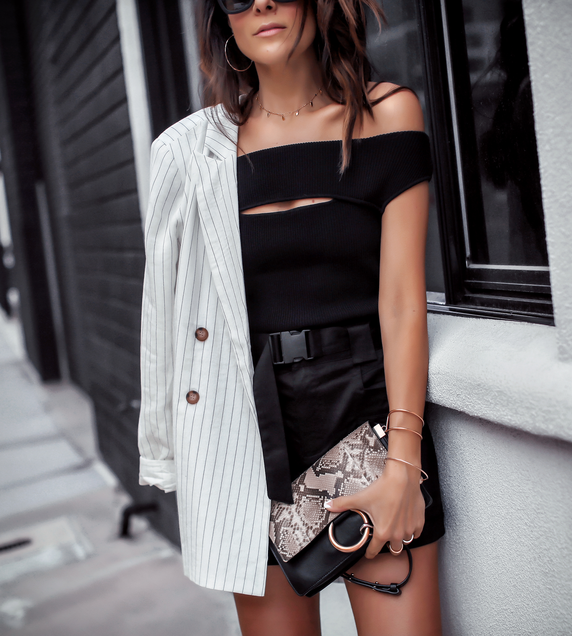 Brunette Woman Wearing Express Olivia Culpo Collection Chloe Nile Bag