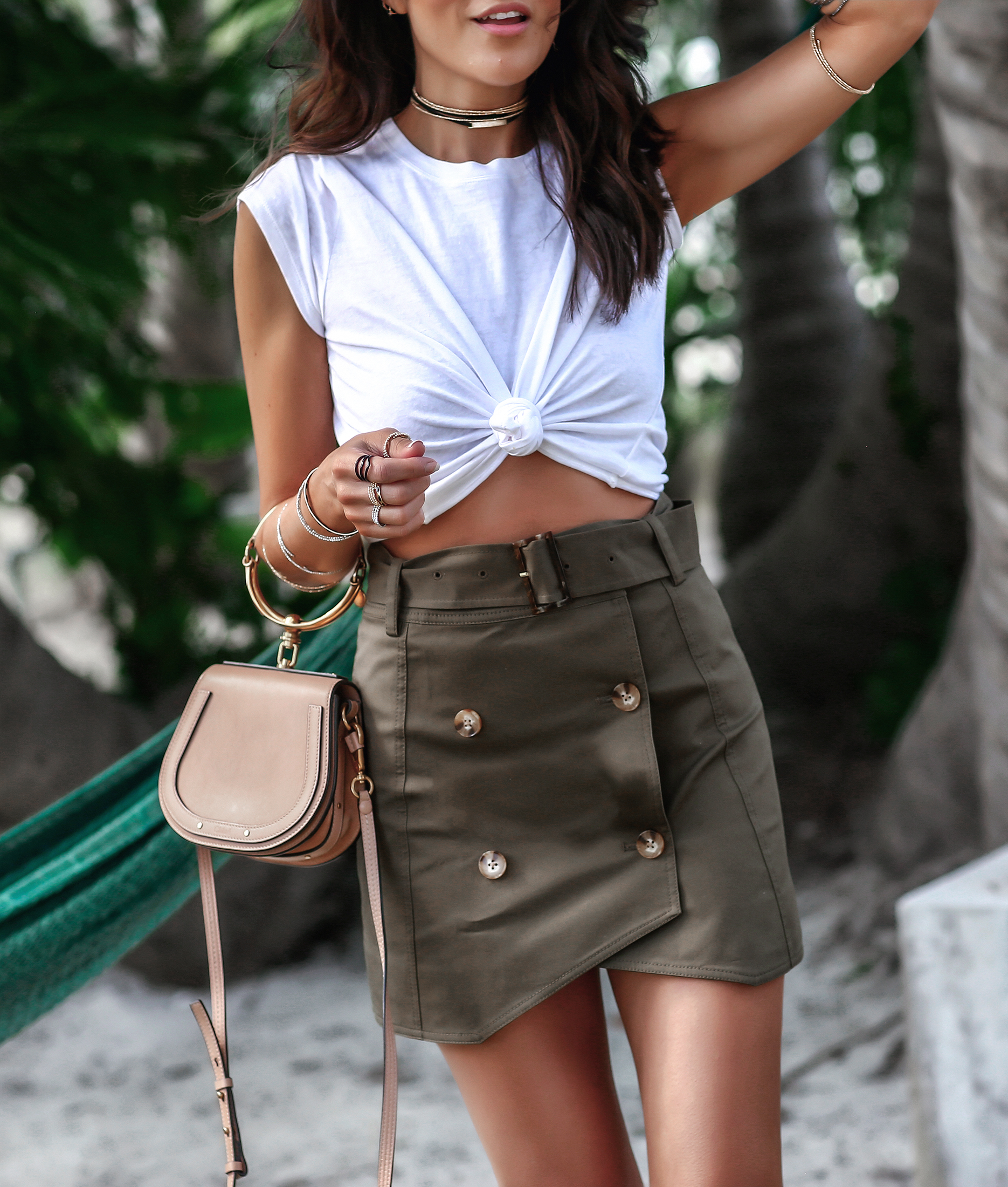 Brunette Woman in The Bahamas in Exclusive Intermix Fashion for Spring Break .jpg