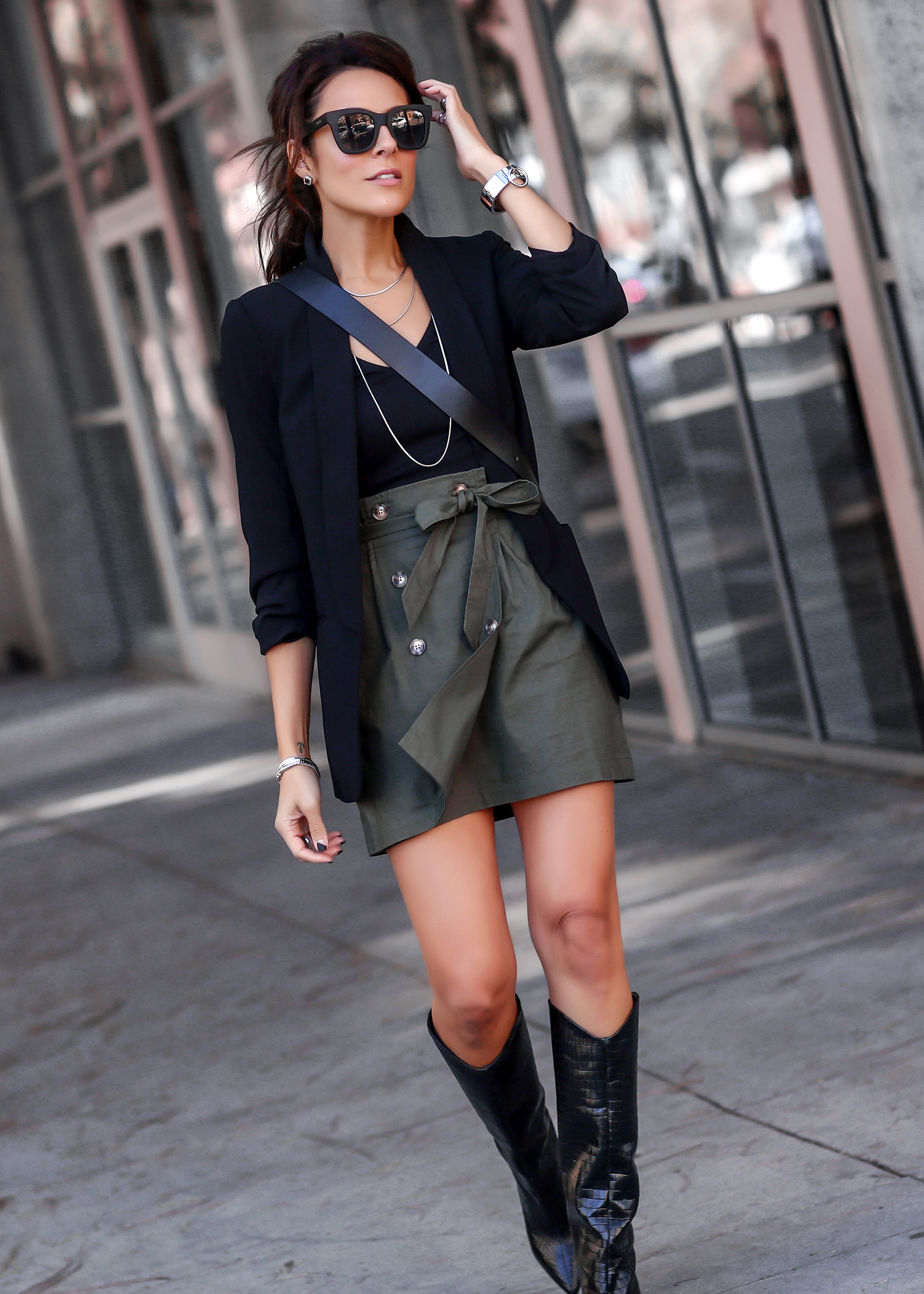 Brunette Woman in Express Workwear Affordable Fashion