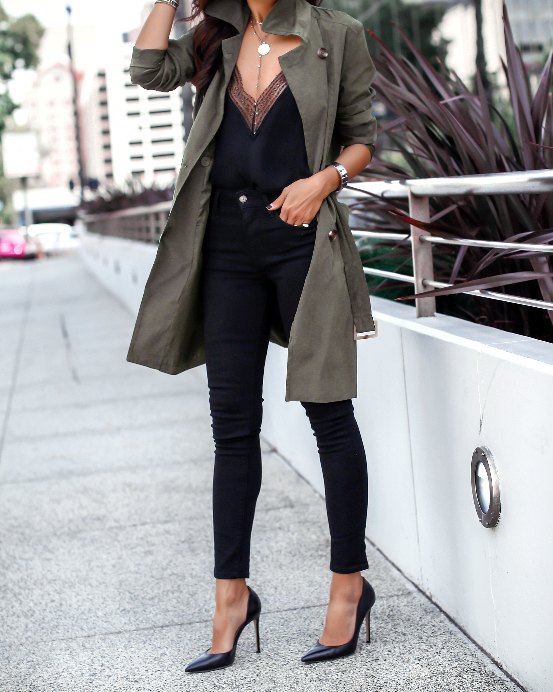 Brunette Woman in Trench and Heels
