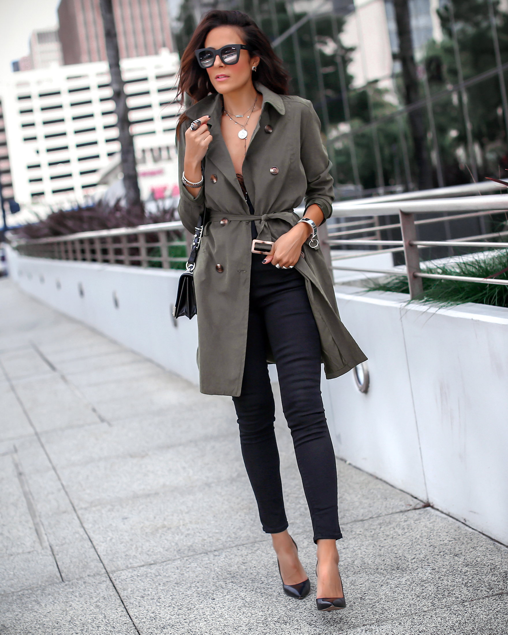 Brunette Woman Walking in Trench and Heels