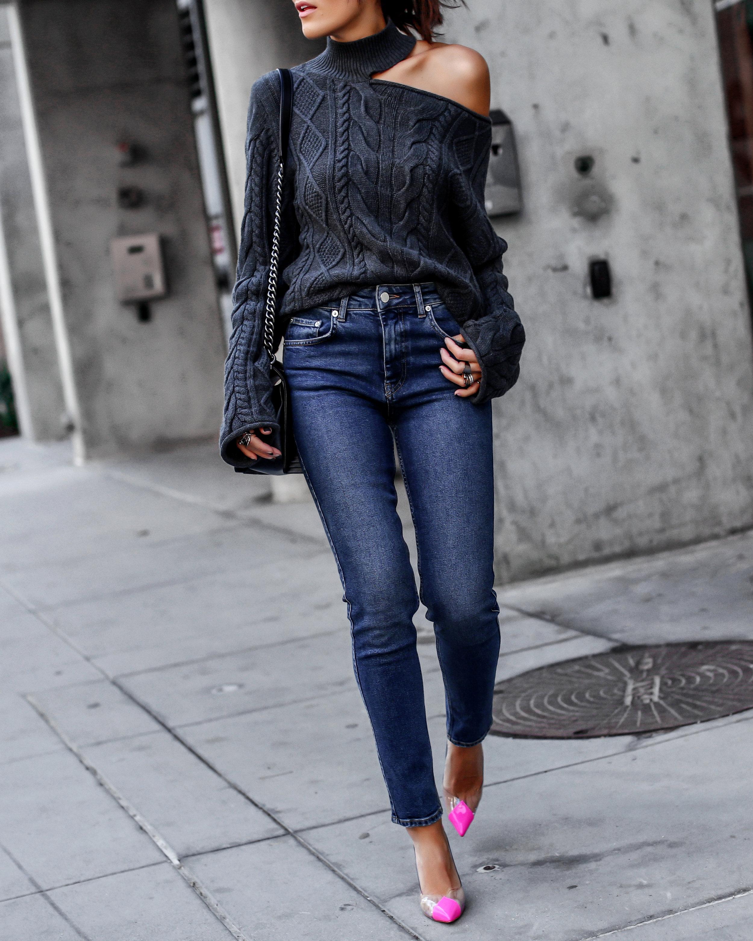 Brunette Woman in RTA Cutout Sweater Anine Bing Jeans
