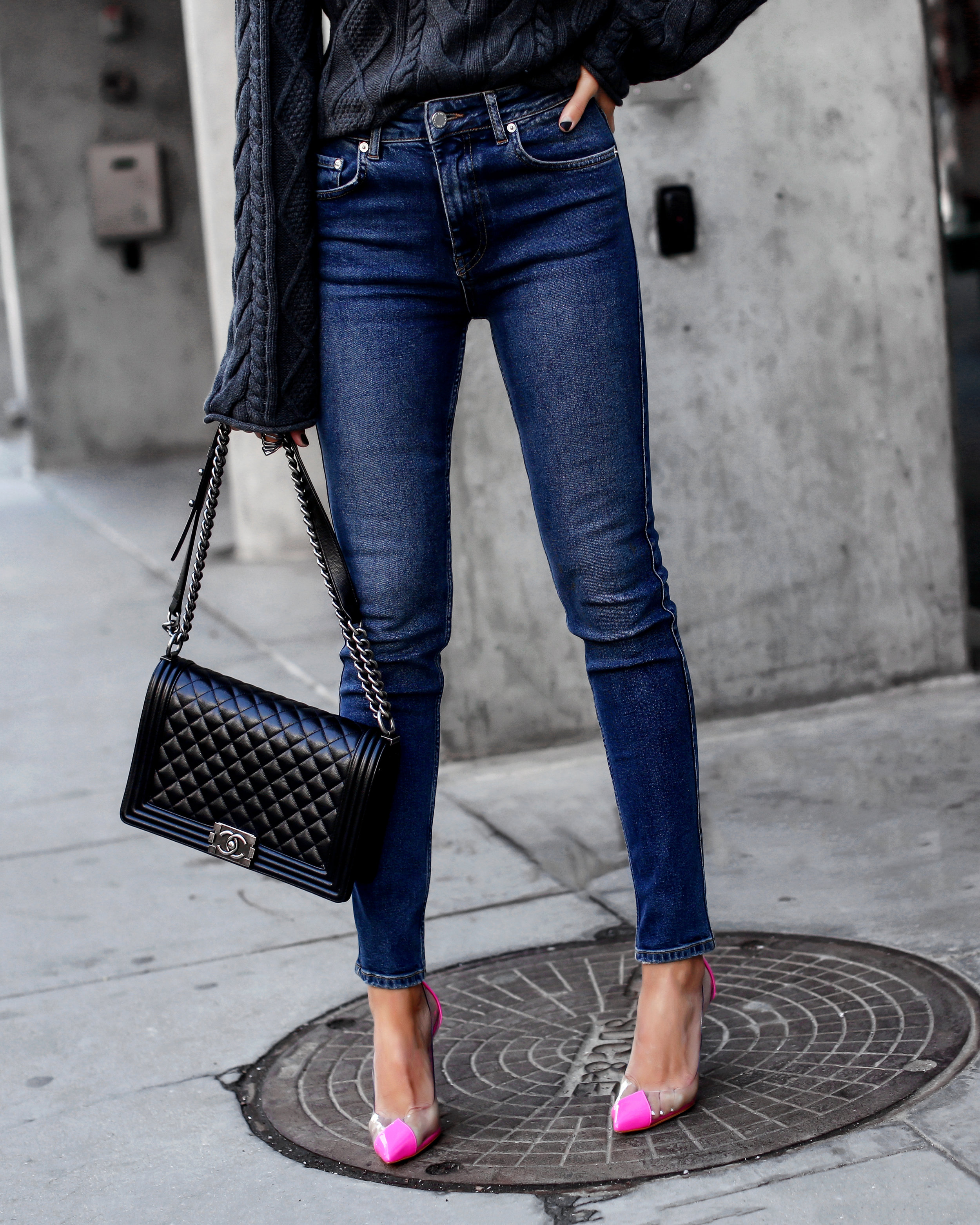 Detail Shot of Chanel Boy Bag and Schutz Neon Heels