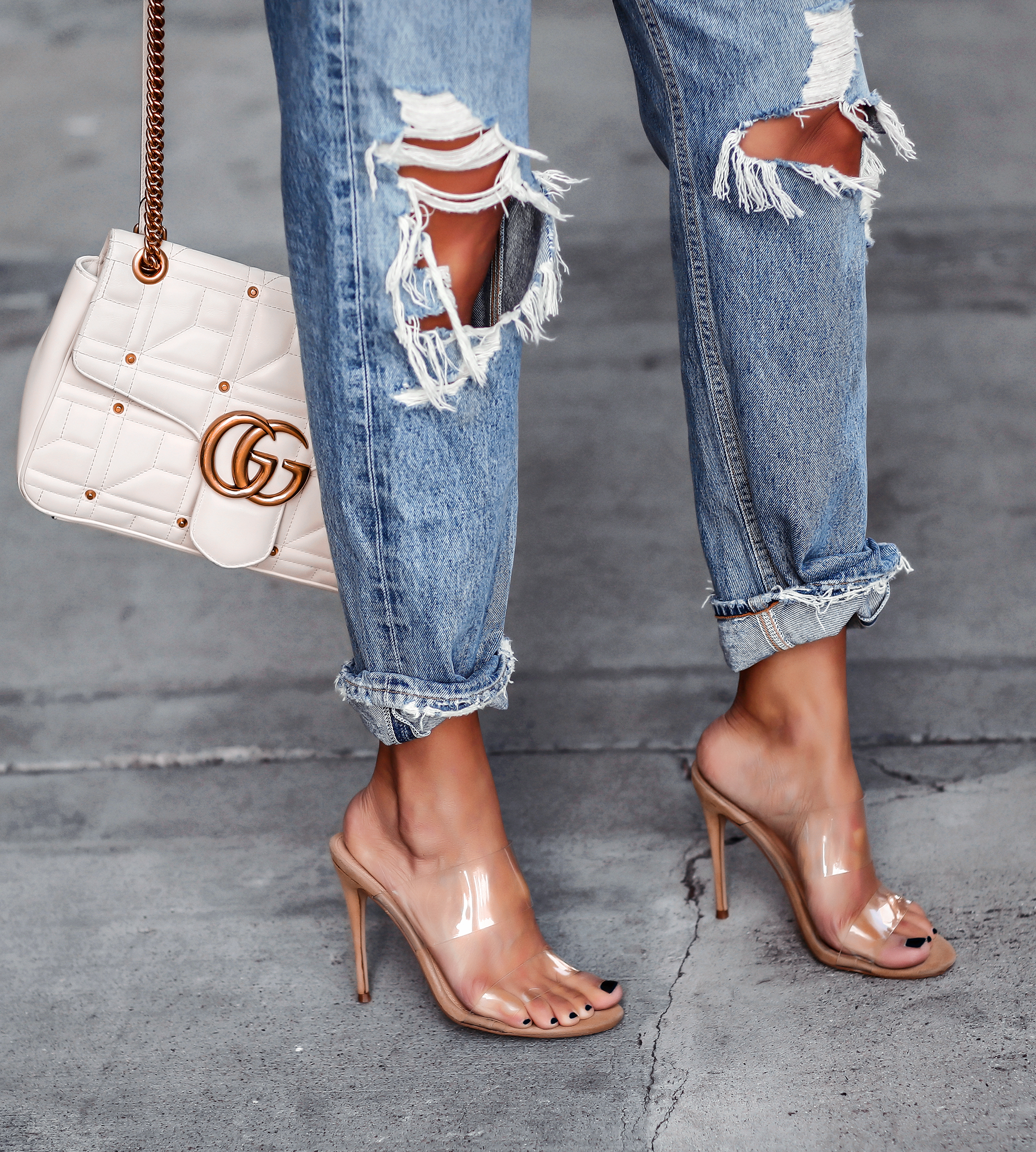 Steve Madden Clear Mules Ripped jeans White Gucci Marmont Bag