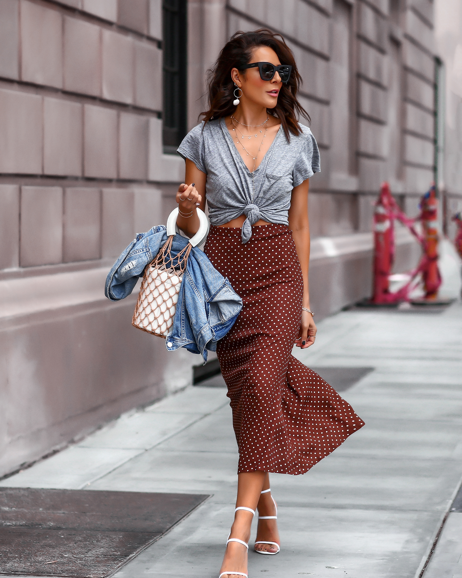 Brunette Woman Walking in Nordstrom Summer Fashion