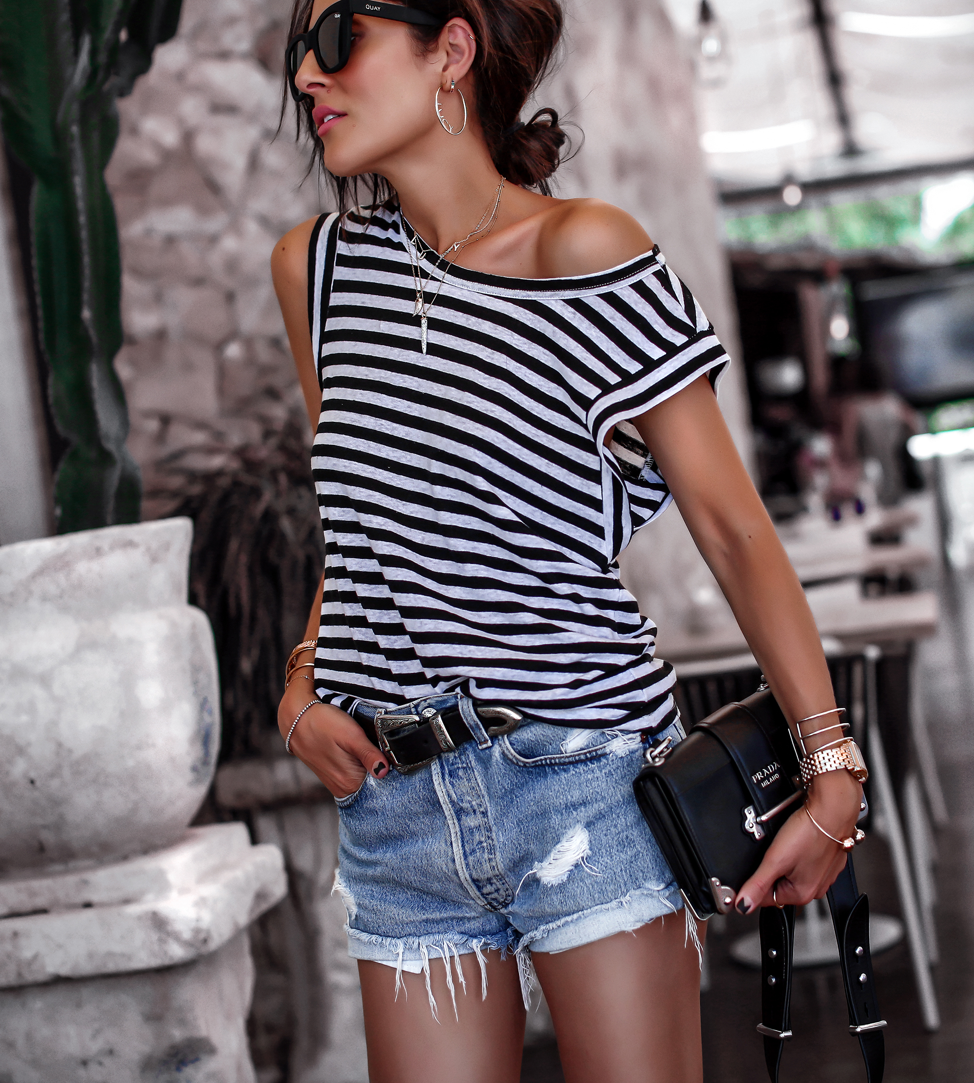 Brunette Woman in Jean Shorts Summer Style