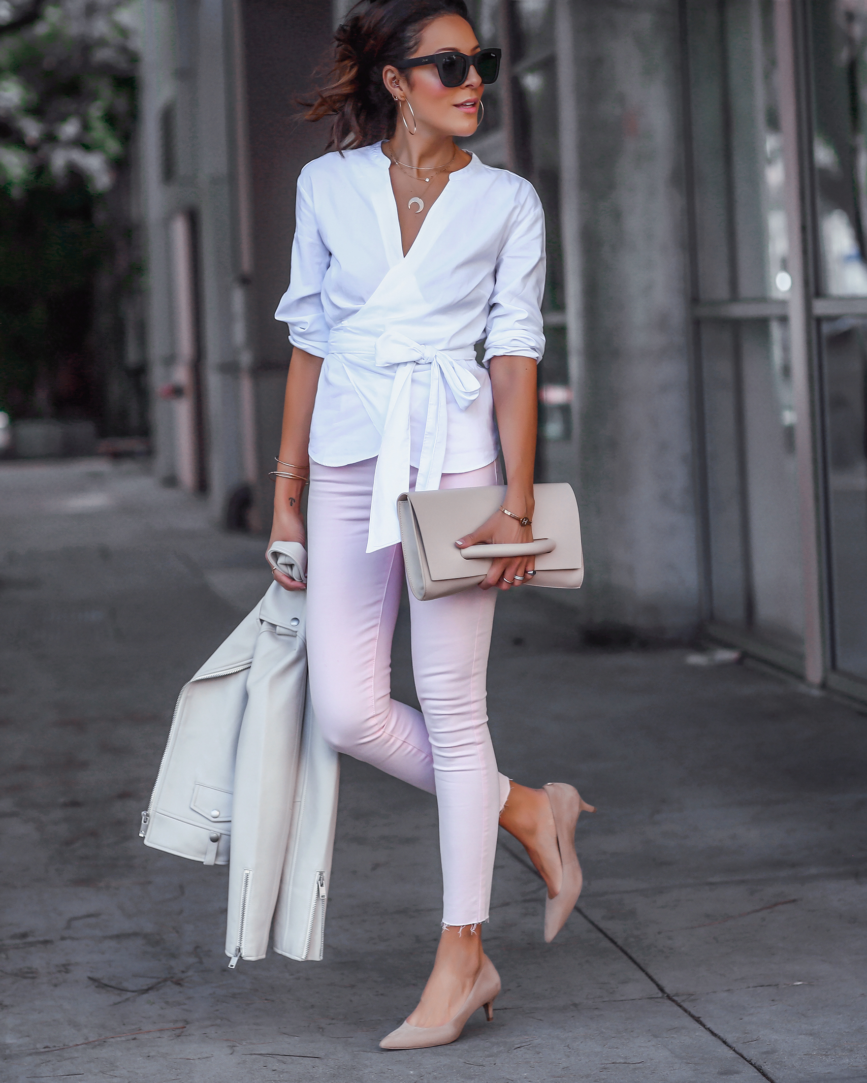 Brunette Woman in Pastel Pink Jeans
