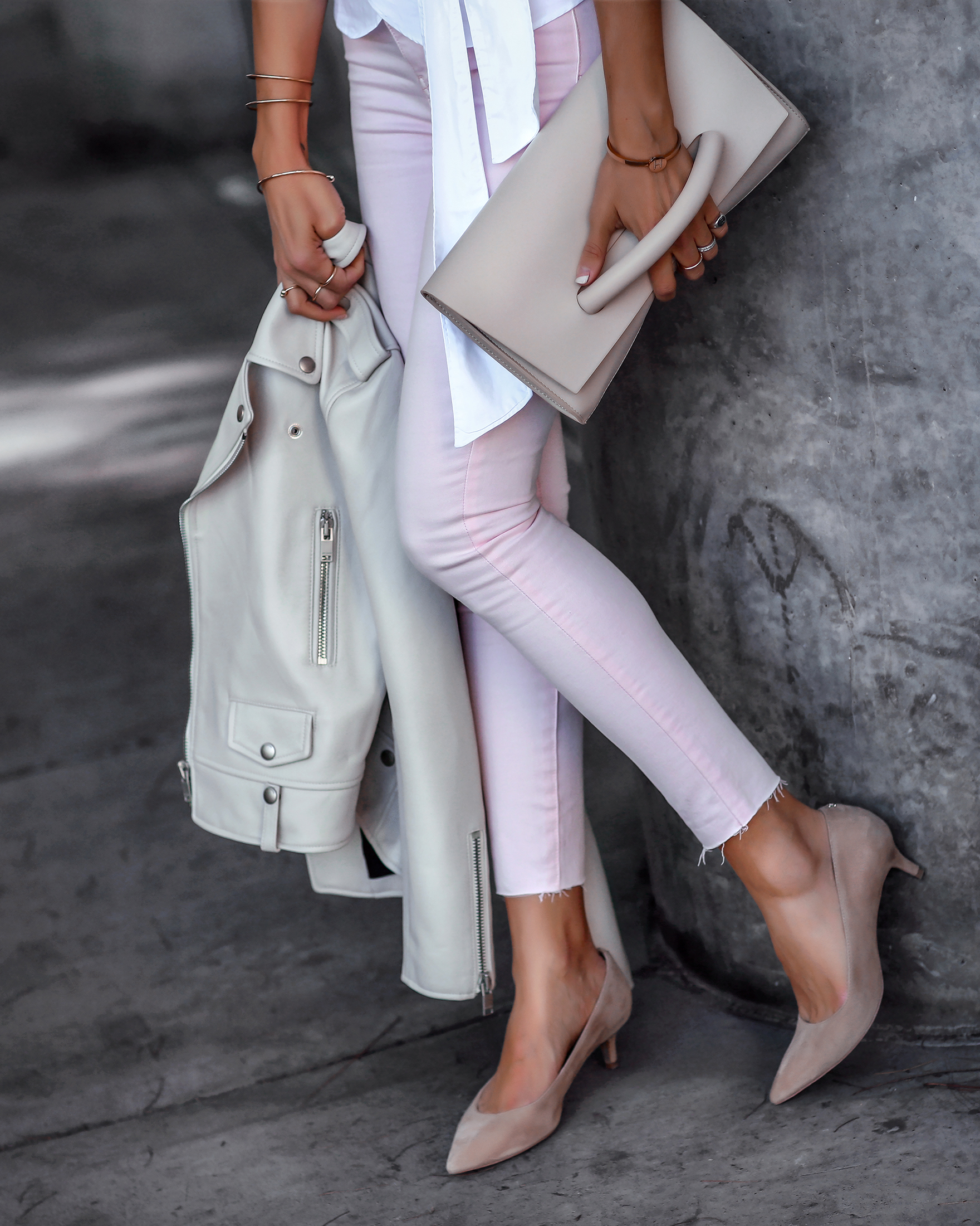 Detail Shot Pastel Pink Jeans