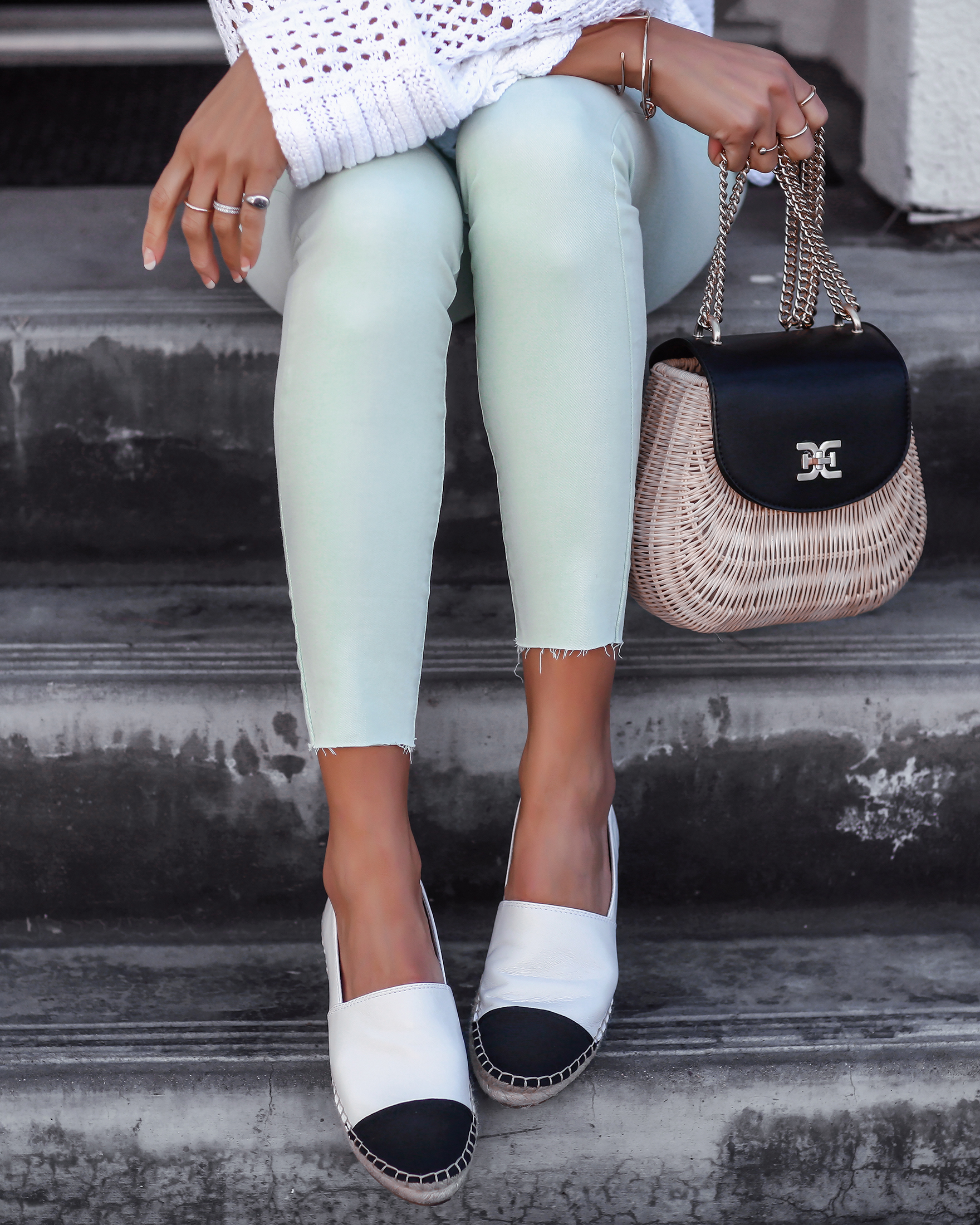 Details Shot of Sam Edelman Seafoam Green Jeans and Espadrilles