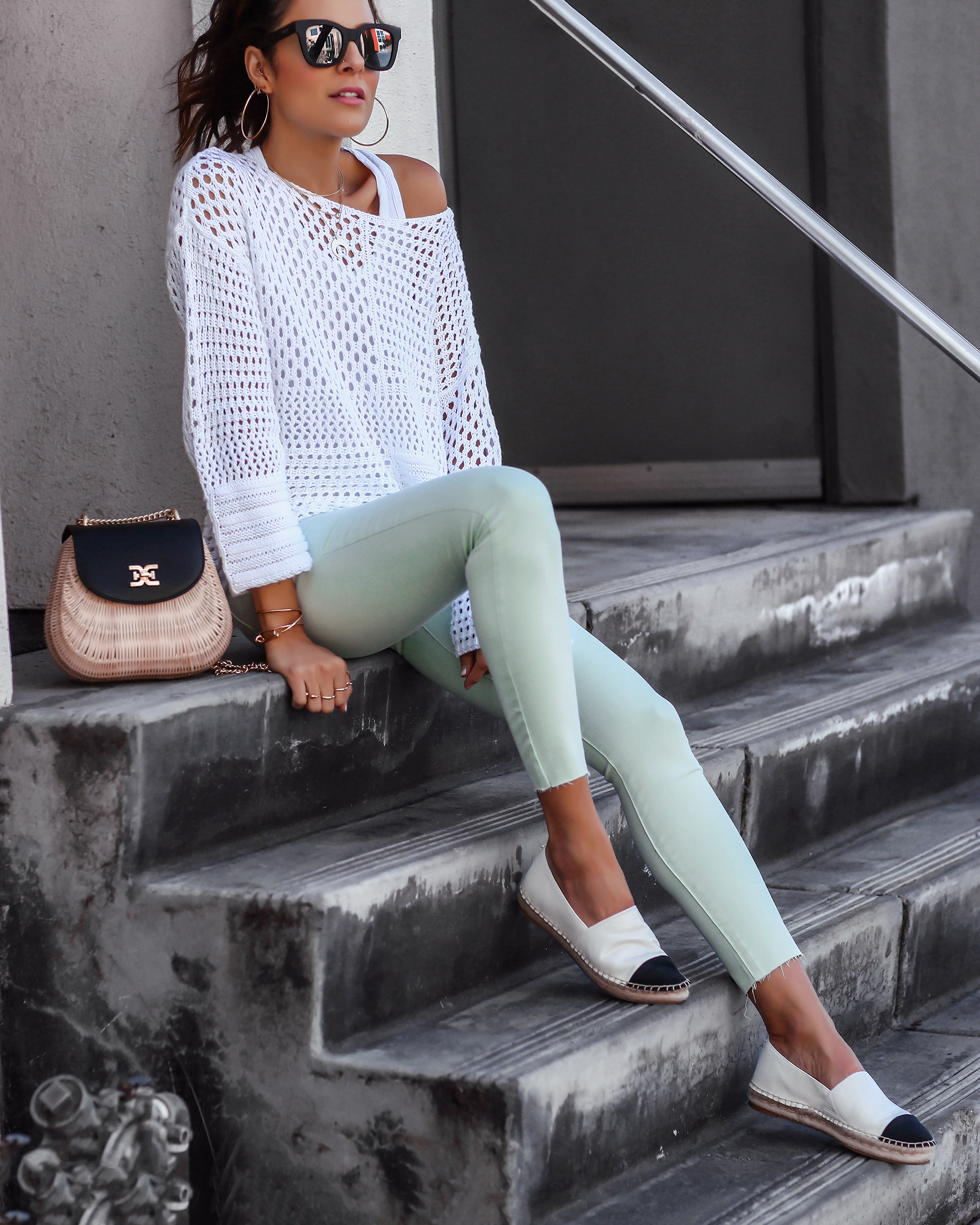 Brunette Woman in Sam Edelman Seafoam Green Jeans and Espadrilles.