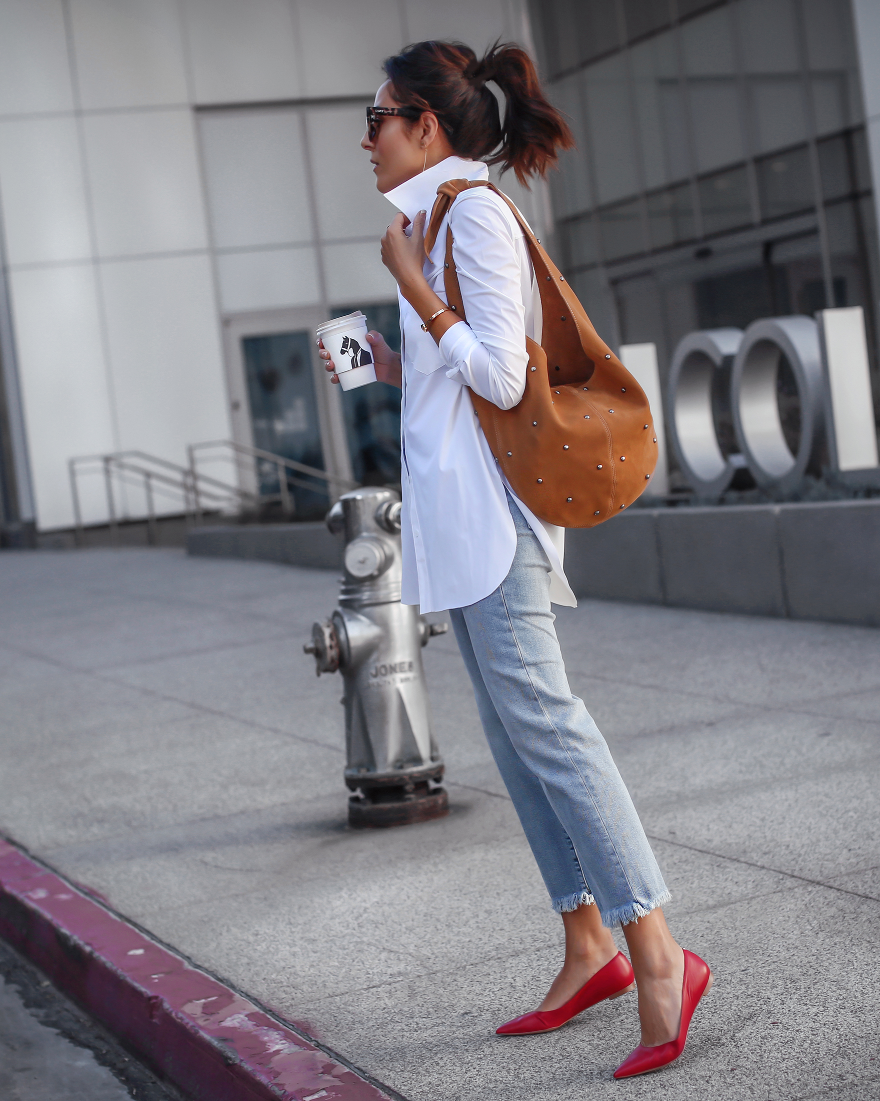 Casual Look in Sam Edelman Denim and Red Flats
