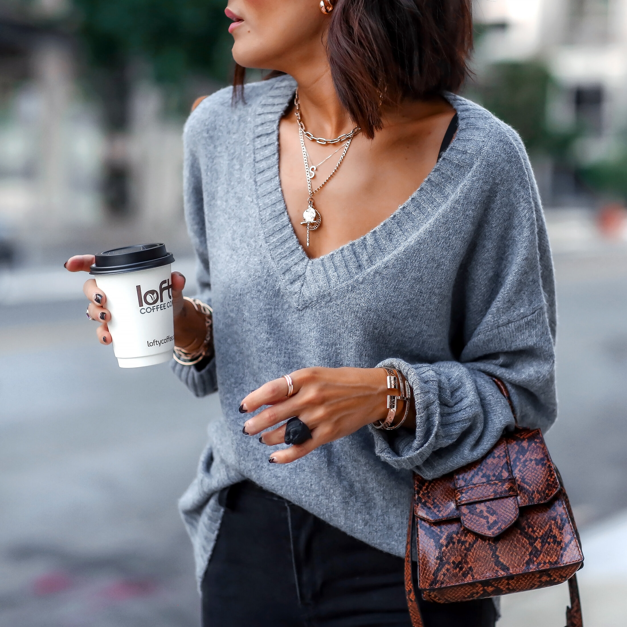 Brunette Woman in Fall Sweater Detail Photo