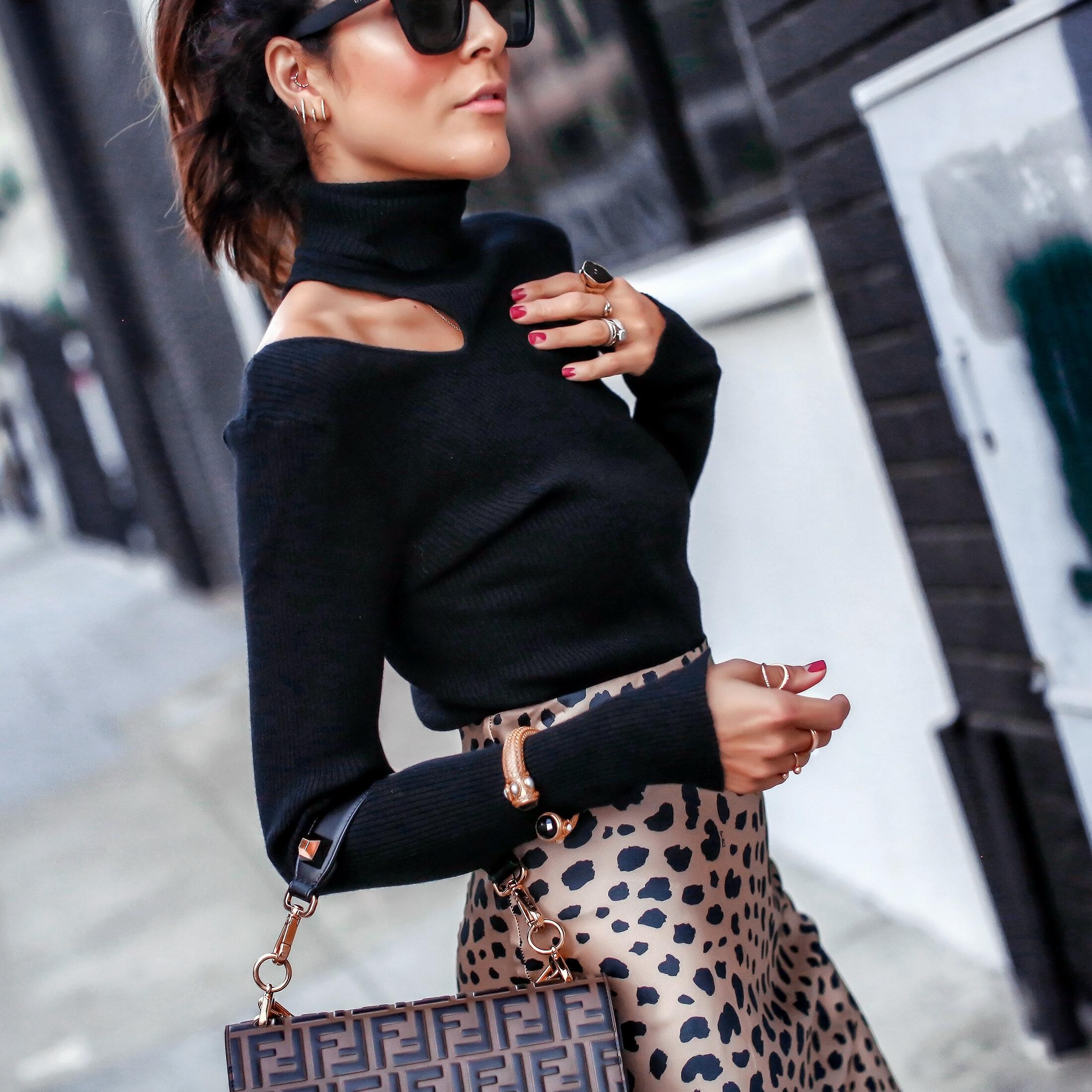 Brunette Woman Astr Cutout Sweater