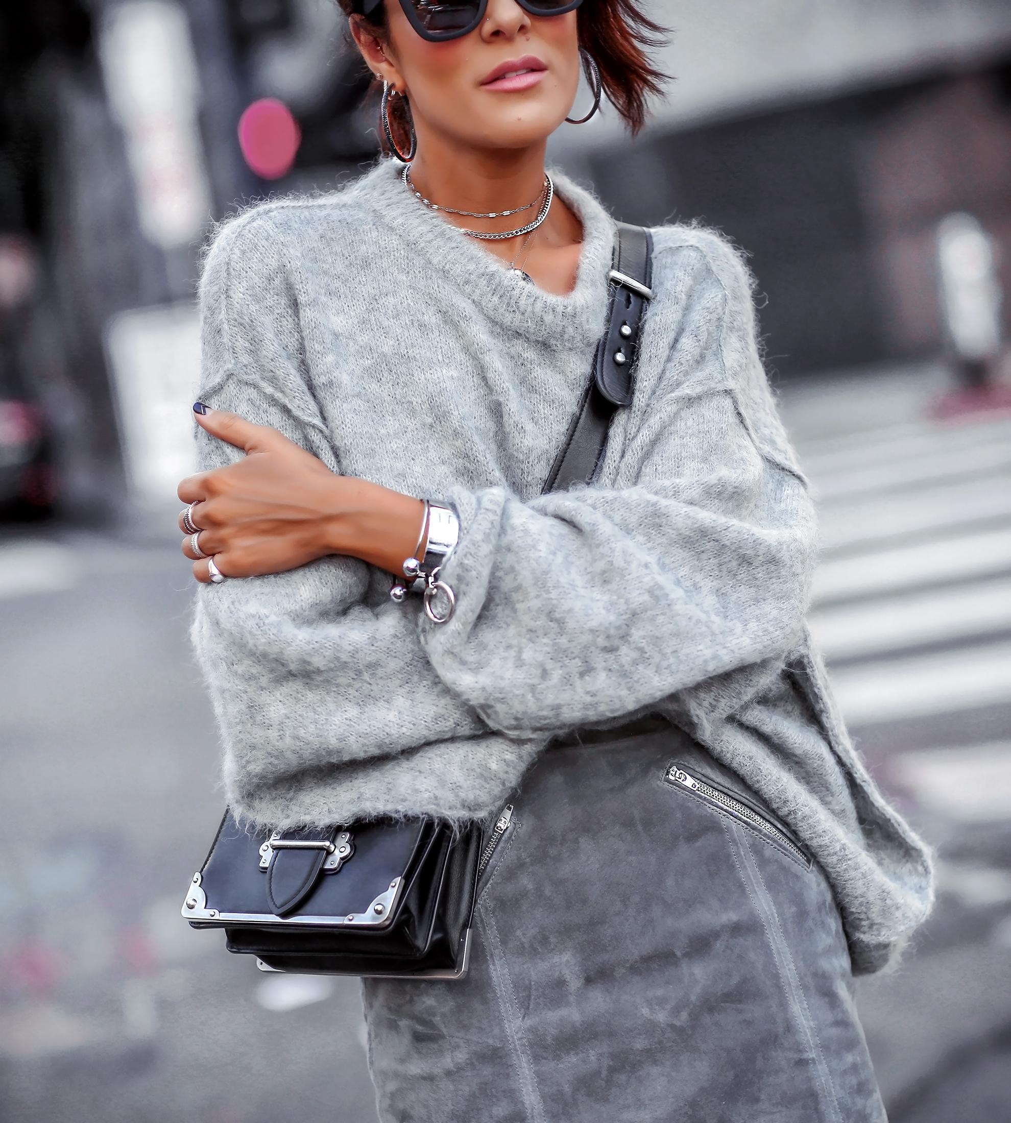 Brunette Woman in All Grey Monochrome Fall Sweater