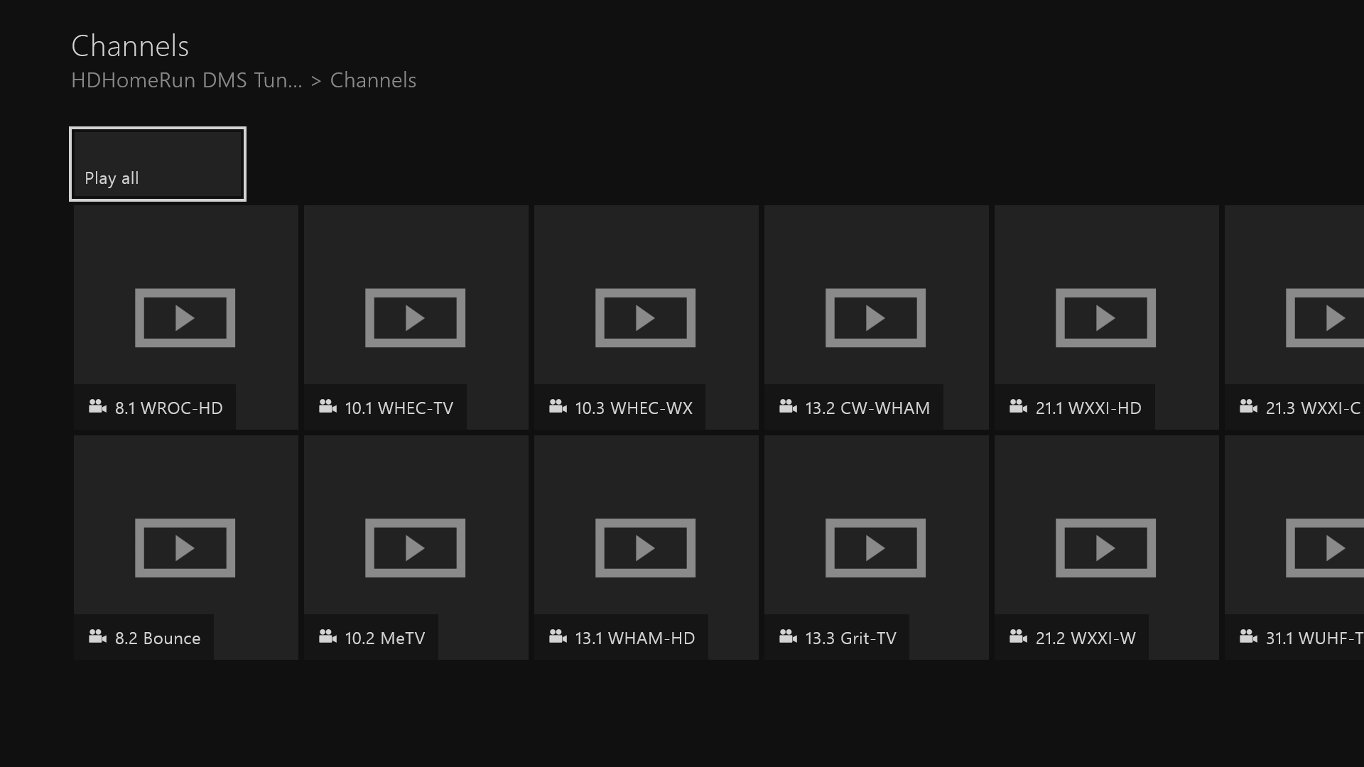 "All your channels will be listed as ""files"" to play."
