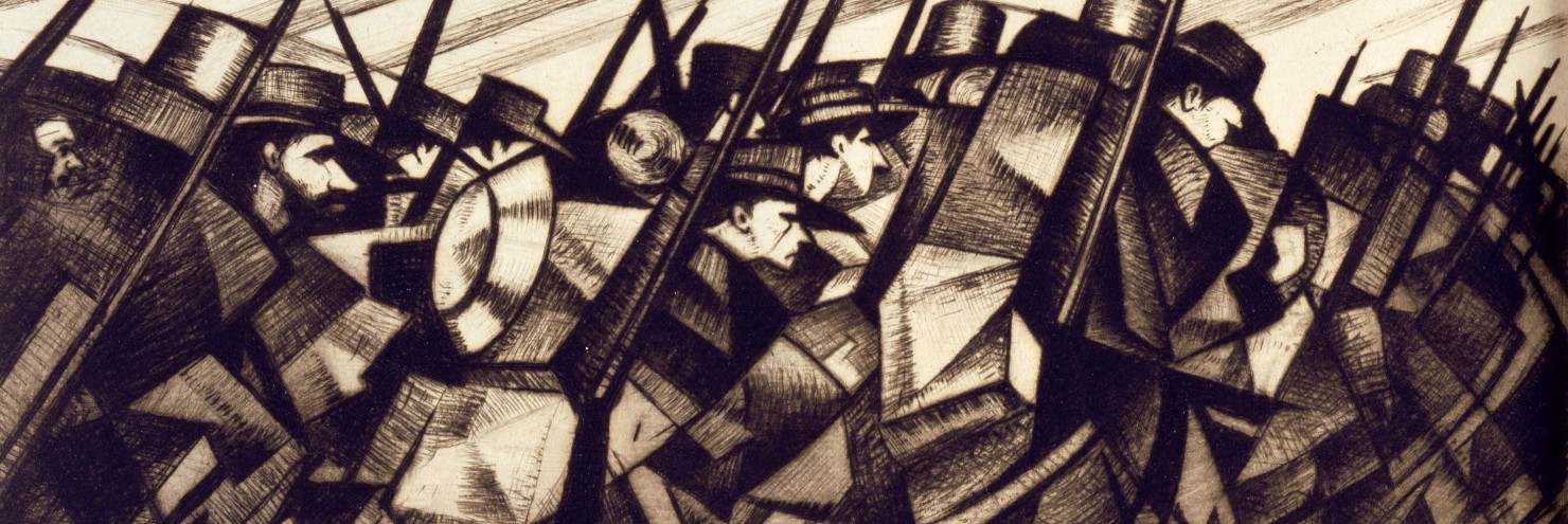 "C.R. W. Nevinson, ""Returning to the Trenches"" (1916)"