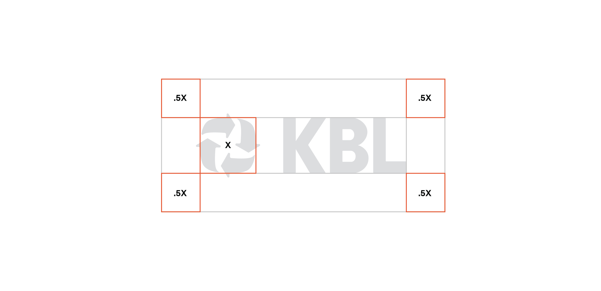 Clear Space   The KBL logo should always be surrounded by a minimum area of clear space. No other visual elements may enter the clear space. Care should be taken whenever laying the logo over a colour, background or image.
