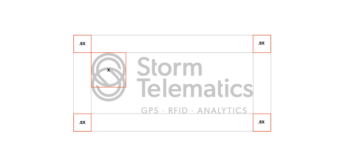 Clear Space  The Storm Telematics logo should always be surrounded by a minimum area of clear space. No other visual elements may enter the clear space. Care should be taken whenever laying the logo over a colour, background or image.