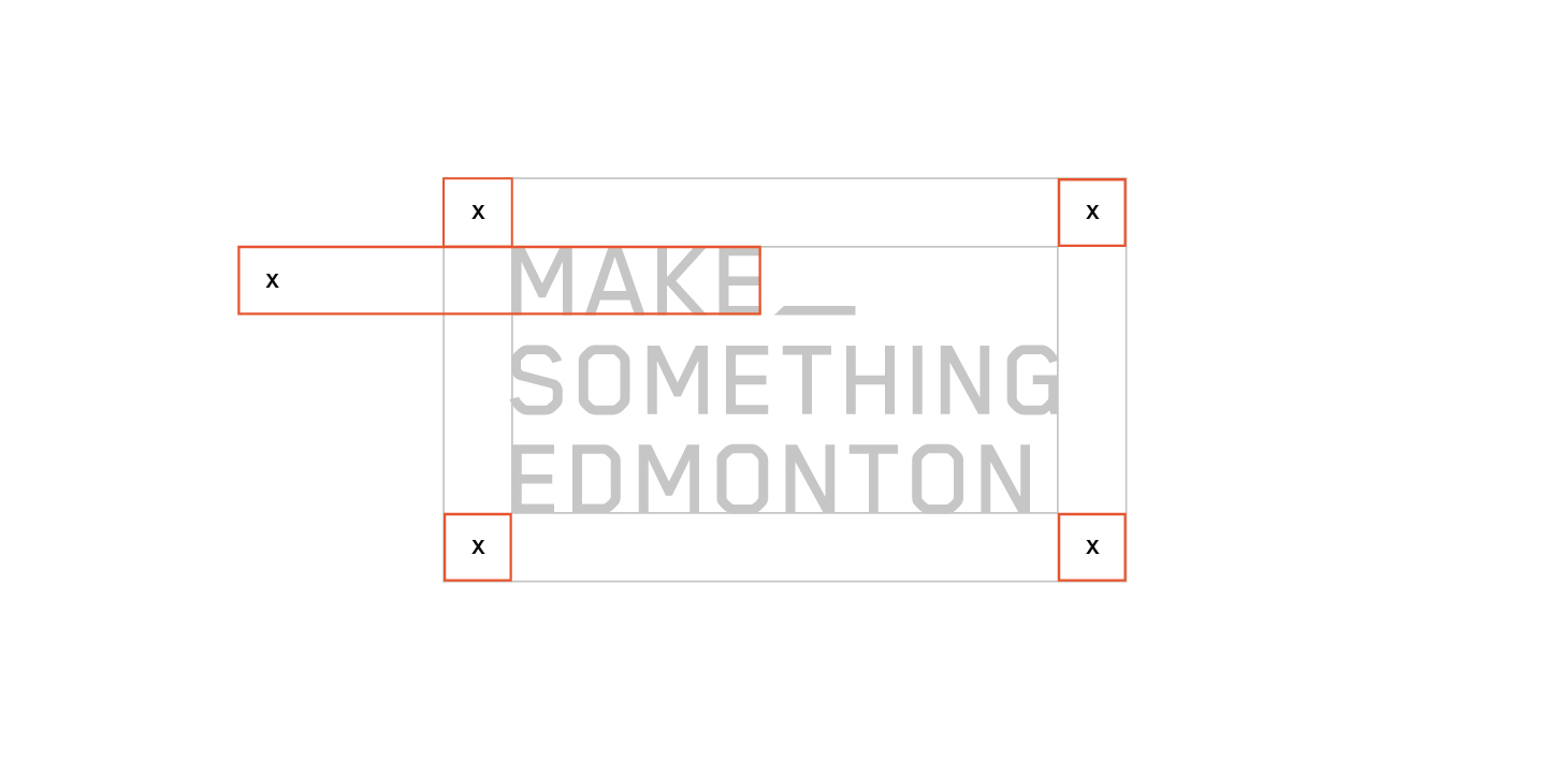 Clear Space  The Make Something Edmonton logo should always be surrounded by a minimum area of clear space. No other visual elements may enter the clear space. Care should be taken whenever laying the logo over a colour, background or image.