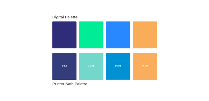 Colour  Due to the vast difference of colour output that is produced between print and digital, especially when dealing with fluorescent colour. We have specified exactly which values to use when dealing with either media type.  Find the full details here.