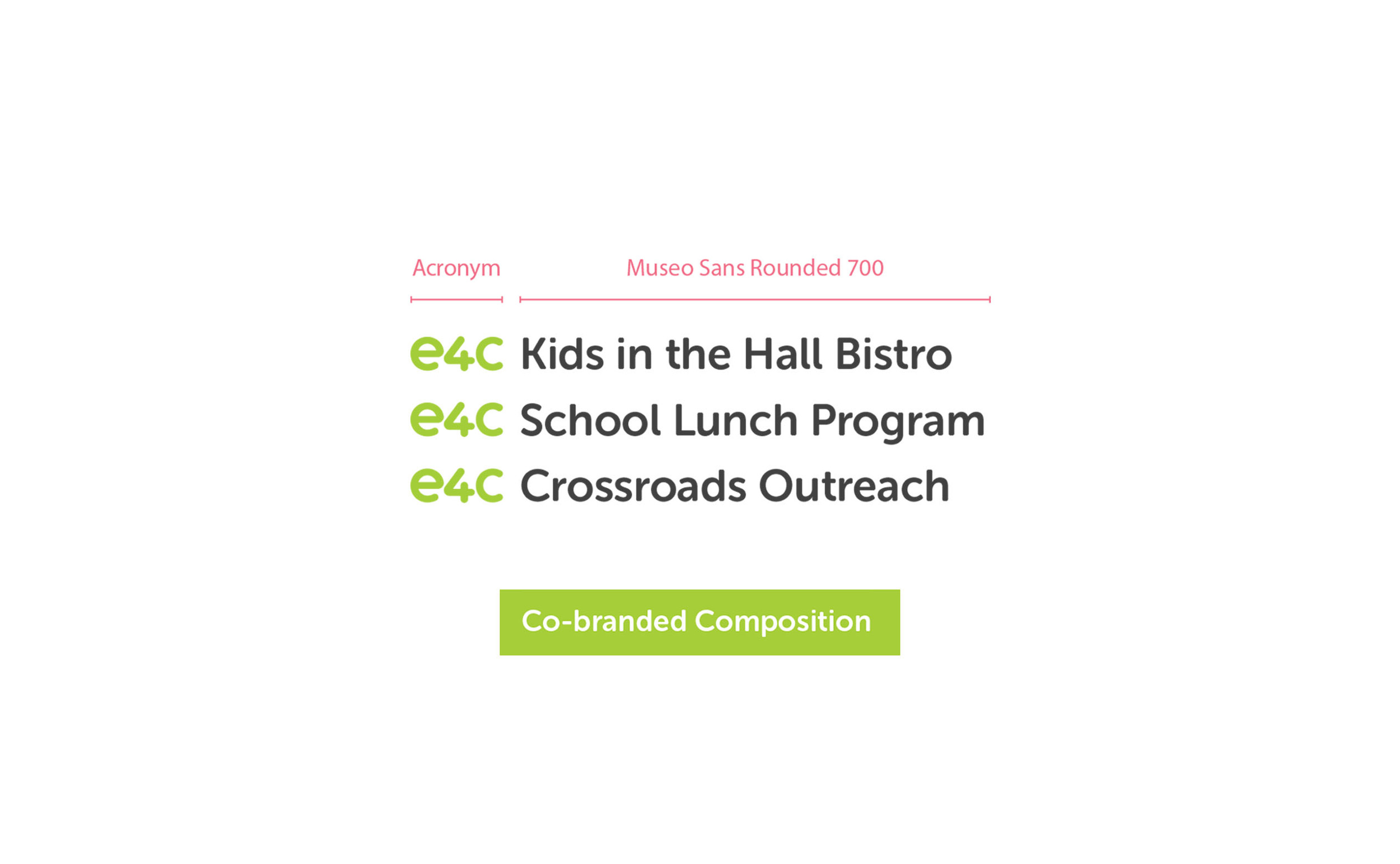 Co-brands:   e4c's number of programs should be represented as 'e4c program name'. Examples: e4c Kids in the Hall Bistro, e4c School Lunch Program, e4c Crossroads Outreach etc.