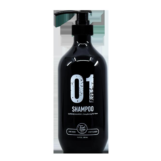01 SHAMPOO แชมพูจากทัฟแอนด์ทัมเบิล ที่ออกแบบมา เพื่อขจัดผลิตภัณฑ์แต่งผมอย่างหมดจรด และบำรุงด้วยคาเฟอีน+ไบโอติน สกัด