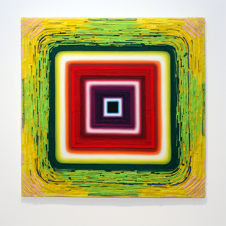 "John Schlue ""Plastic Acid Wave Quake"", 2011, oil, acrylic, felt, matte medium on canvas, 48 x 48 inches"