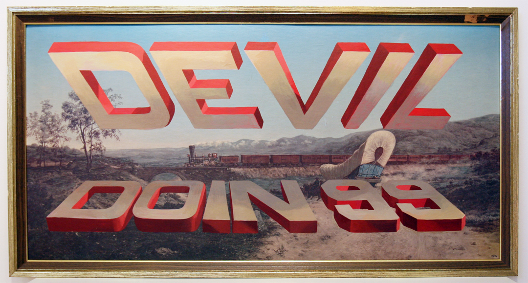 Wayne White, Devil Doin 99, 2009, acrylic on offset lithograph, framed, 27 x 51 inches