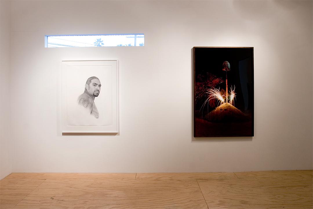 "Patrick Lee, "" Deadly Friends (Angel)"", 2013; Nicolas Shake, ""Celebrating The Effort"", 2014"