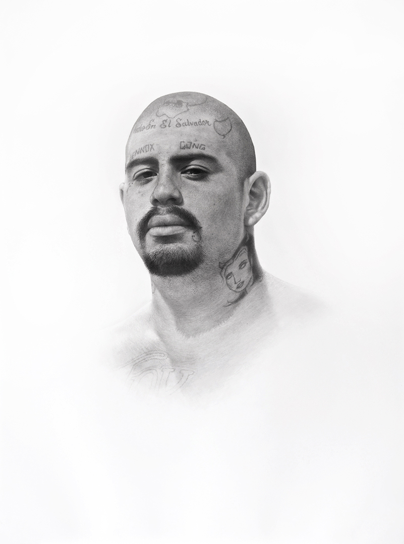 Patrick Lee, Deadly Friends (Lennox Gang), 2014, graphite on paper, 40 x 30 inches