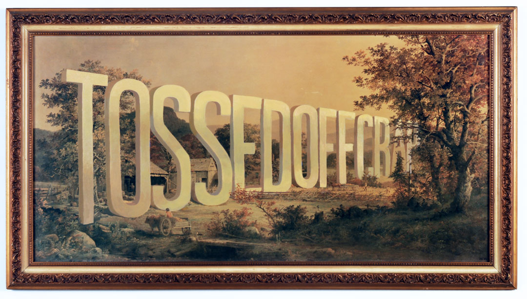 "Wayne White ""Tossed Off Crap"", 2001, acrylic on offset lithograph, framed, 29.5 x 53.5 inches"